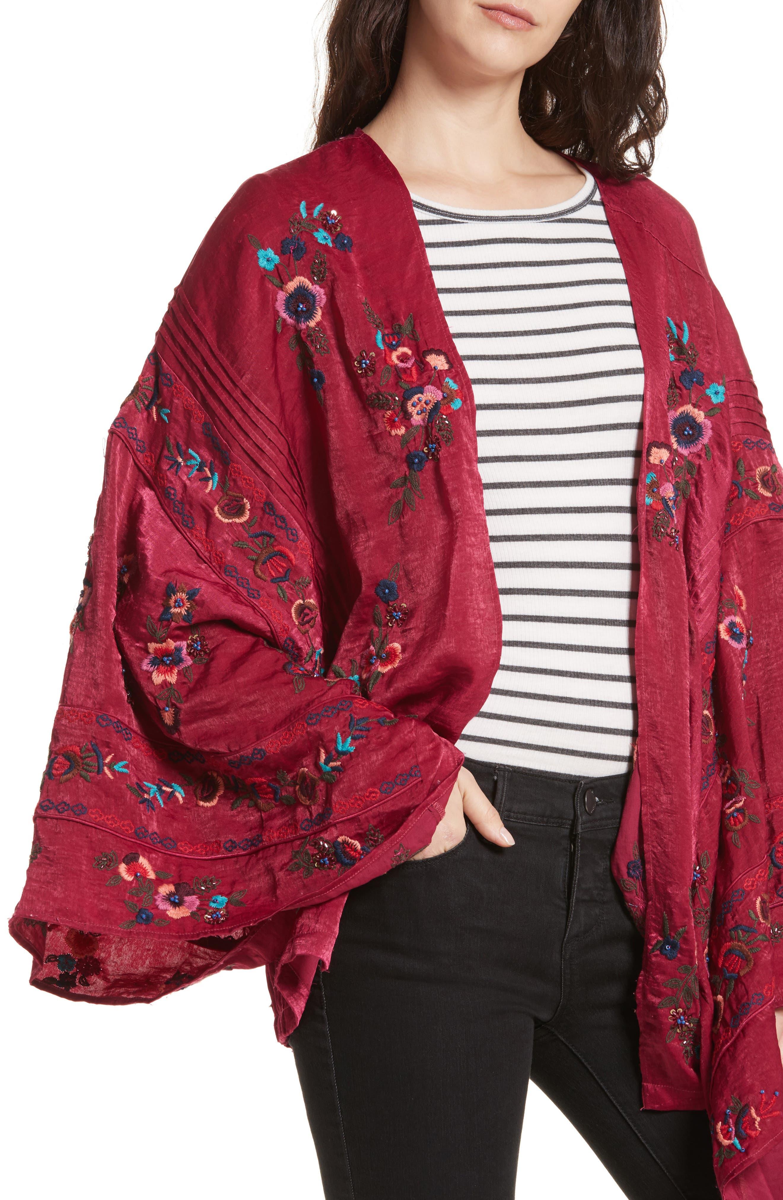 Ariel Kimono,                             Alternate thumbnail 4, color,                             Raspberry