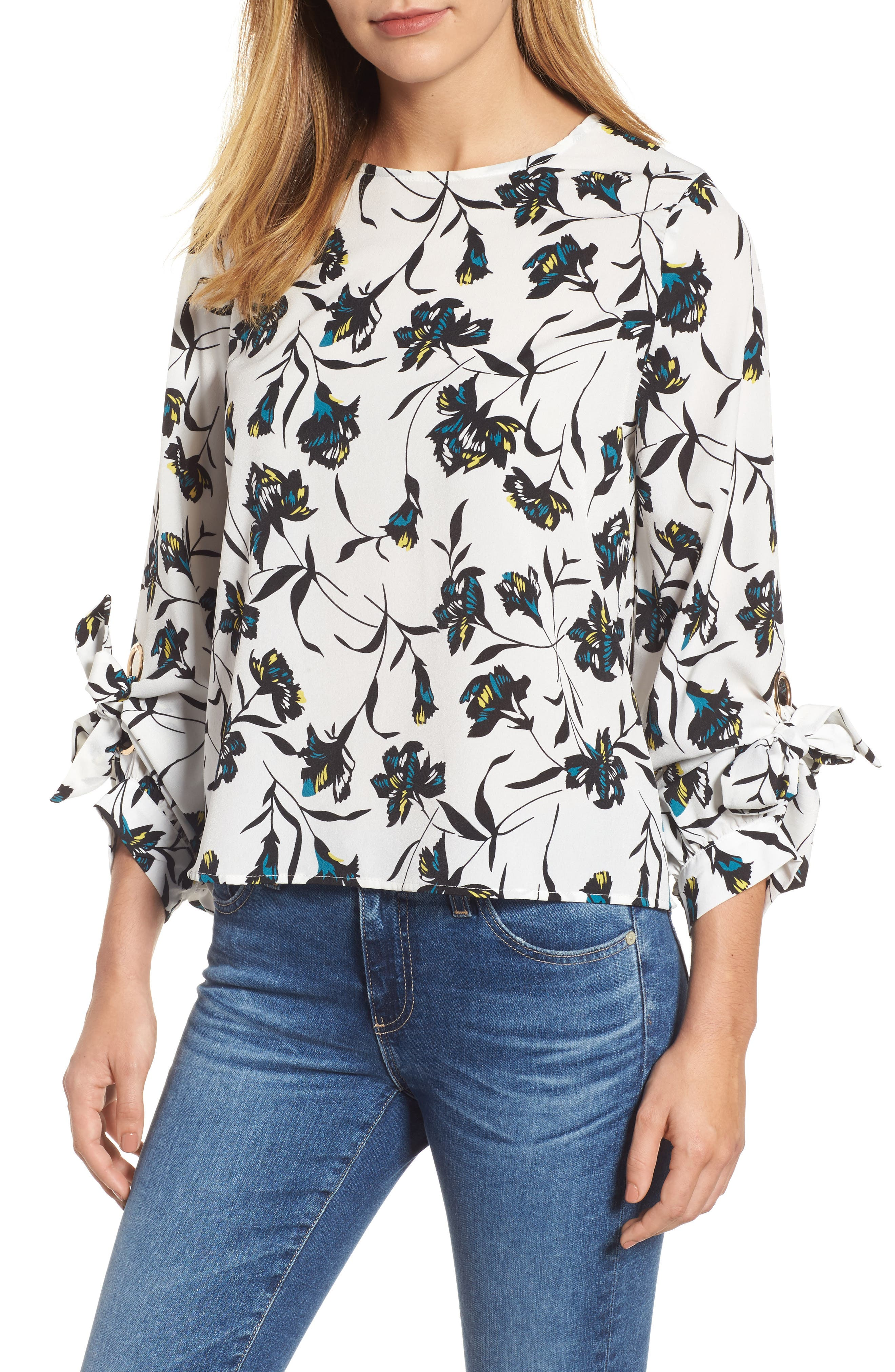 MELLODAY Tie Sleeve Floral Top