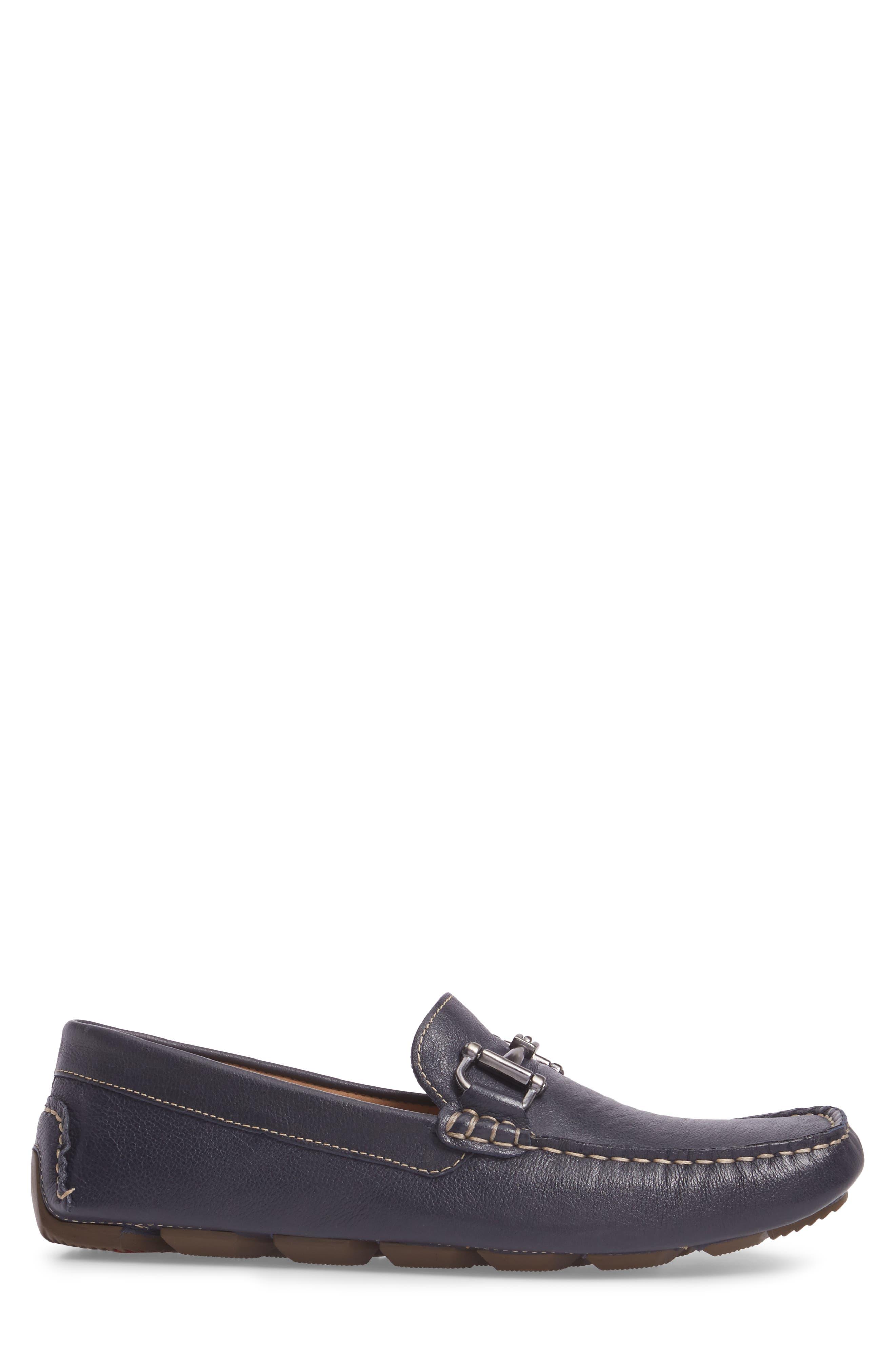 Topanga Driving Shoe,                             Alternate thumbnail 3, color,                             Navy Leather