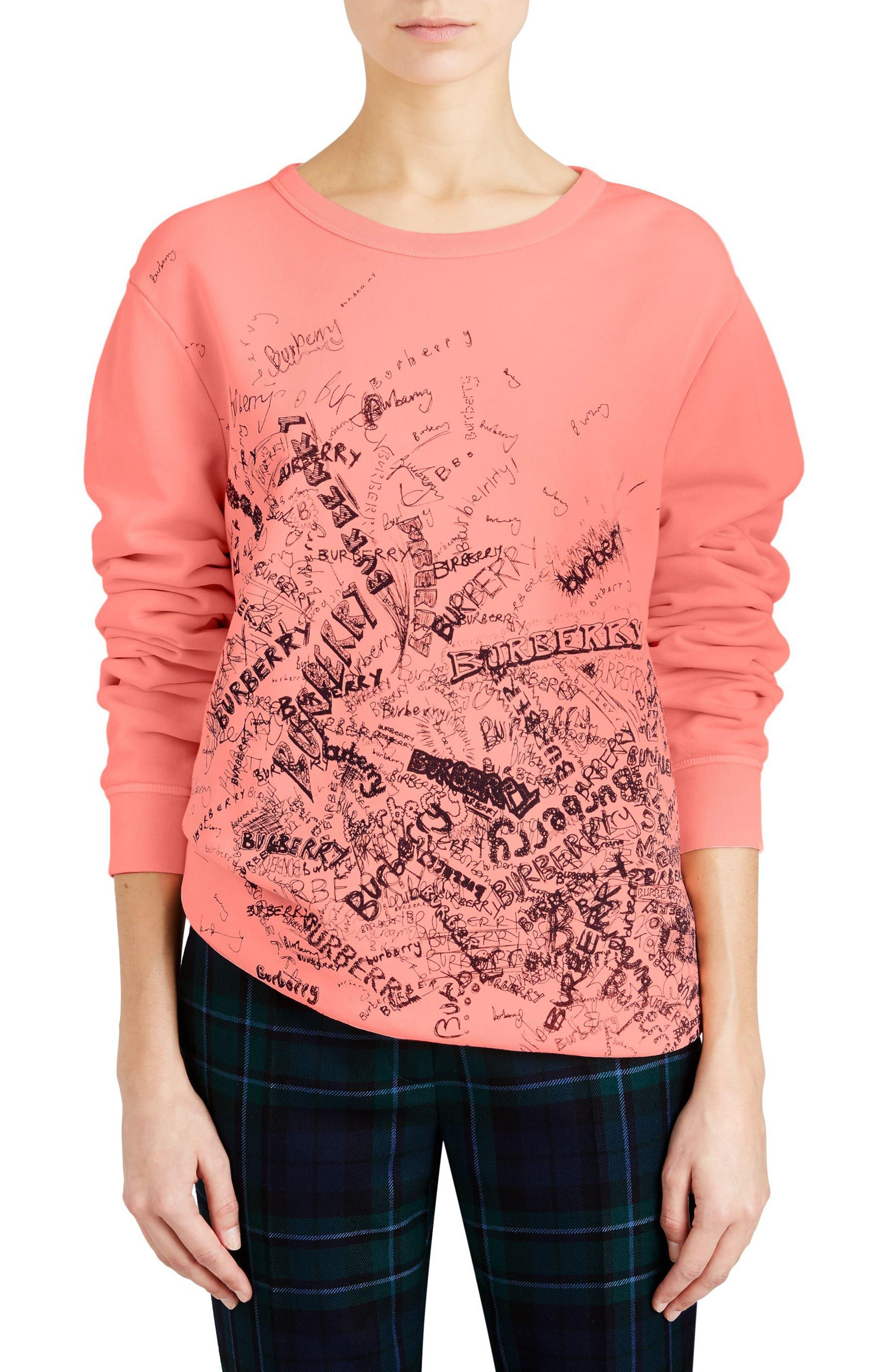 Doodle Print Cotton Sweatshirt,                         Main,                         color, Bright Clementine