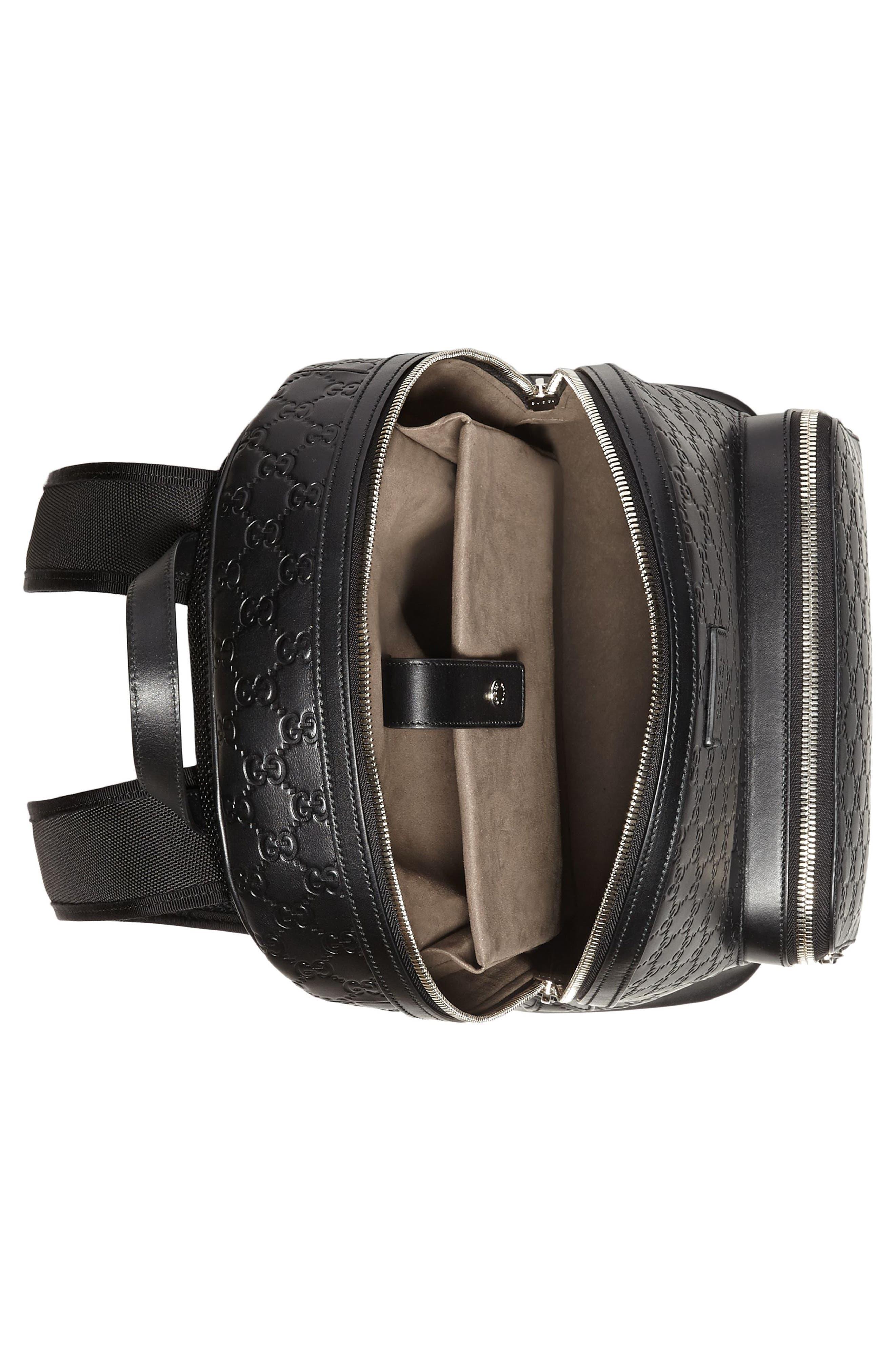 Embossed Leather Backpack,                             Alternate thumbnail 3, color,                             Black