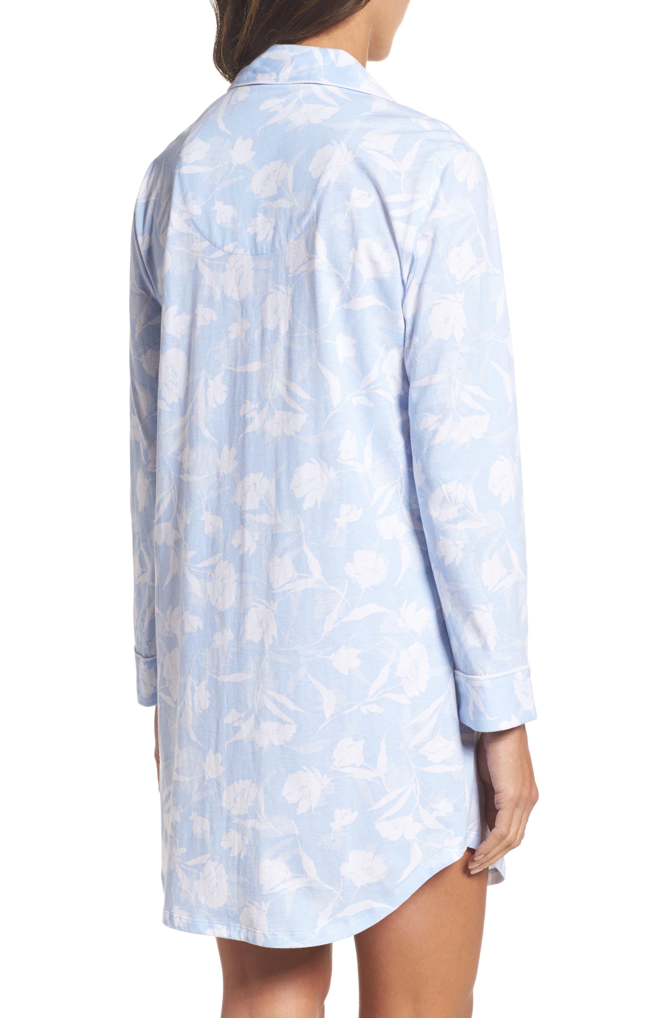 Notch Collar Sleep Shirt,                             Alternate thumbnail 2, color,                             Pale Blue Monotone Floral