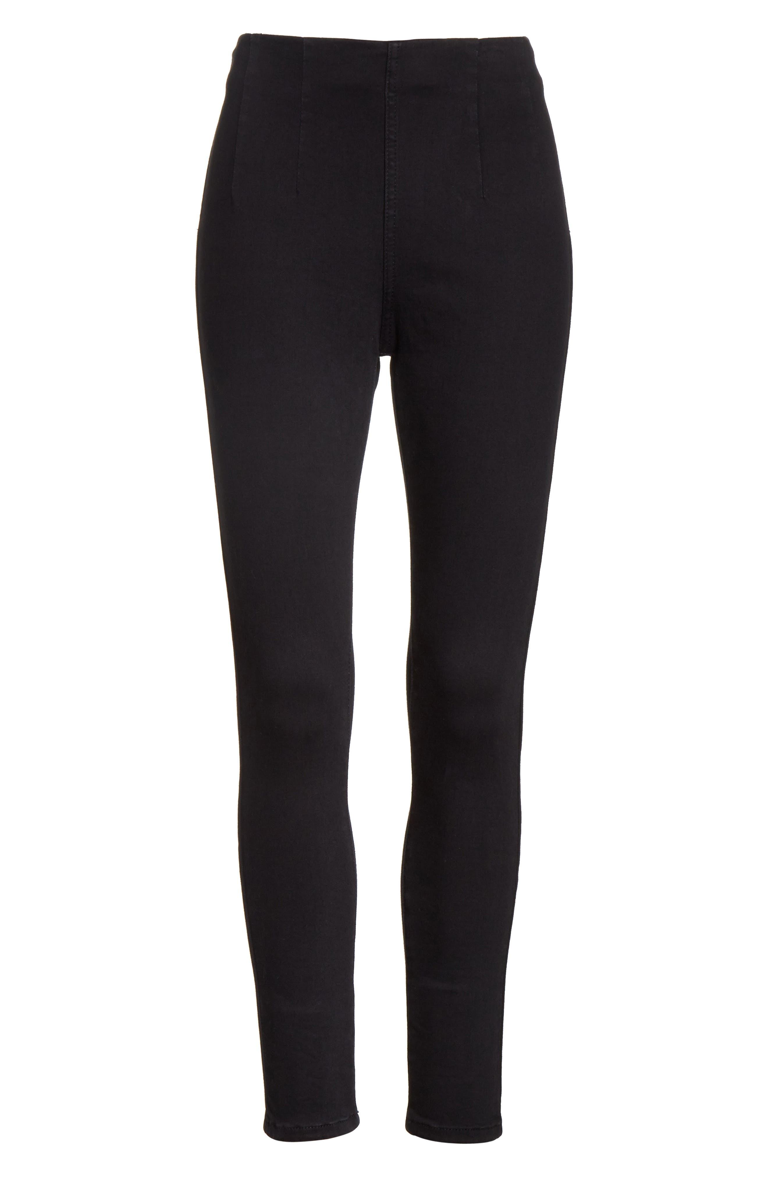 High Waist Ankle Skinny Pants,                             Alternate thumbnail 6, color,                             Black