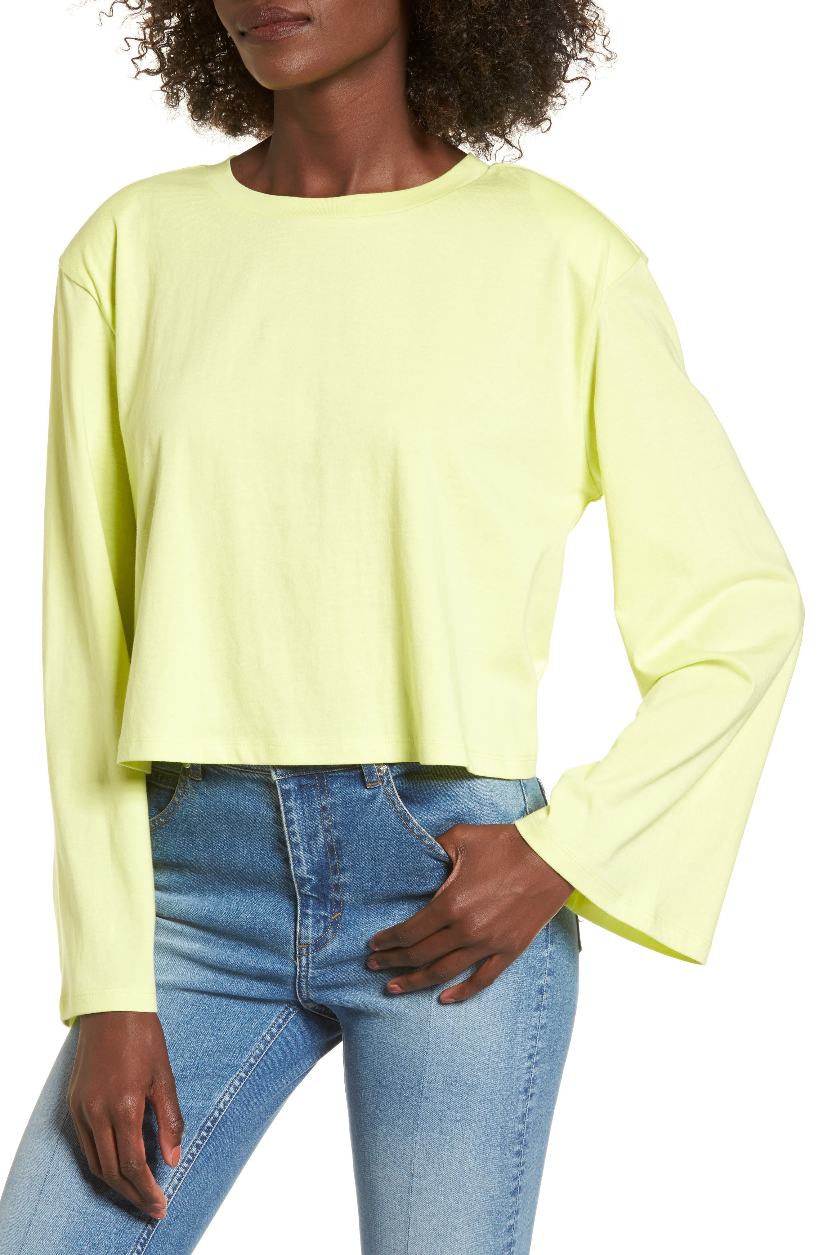 Shoulder Pad Tee,                         Main,                         color, Green Obi
