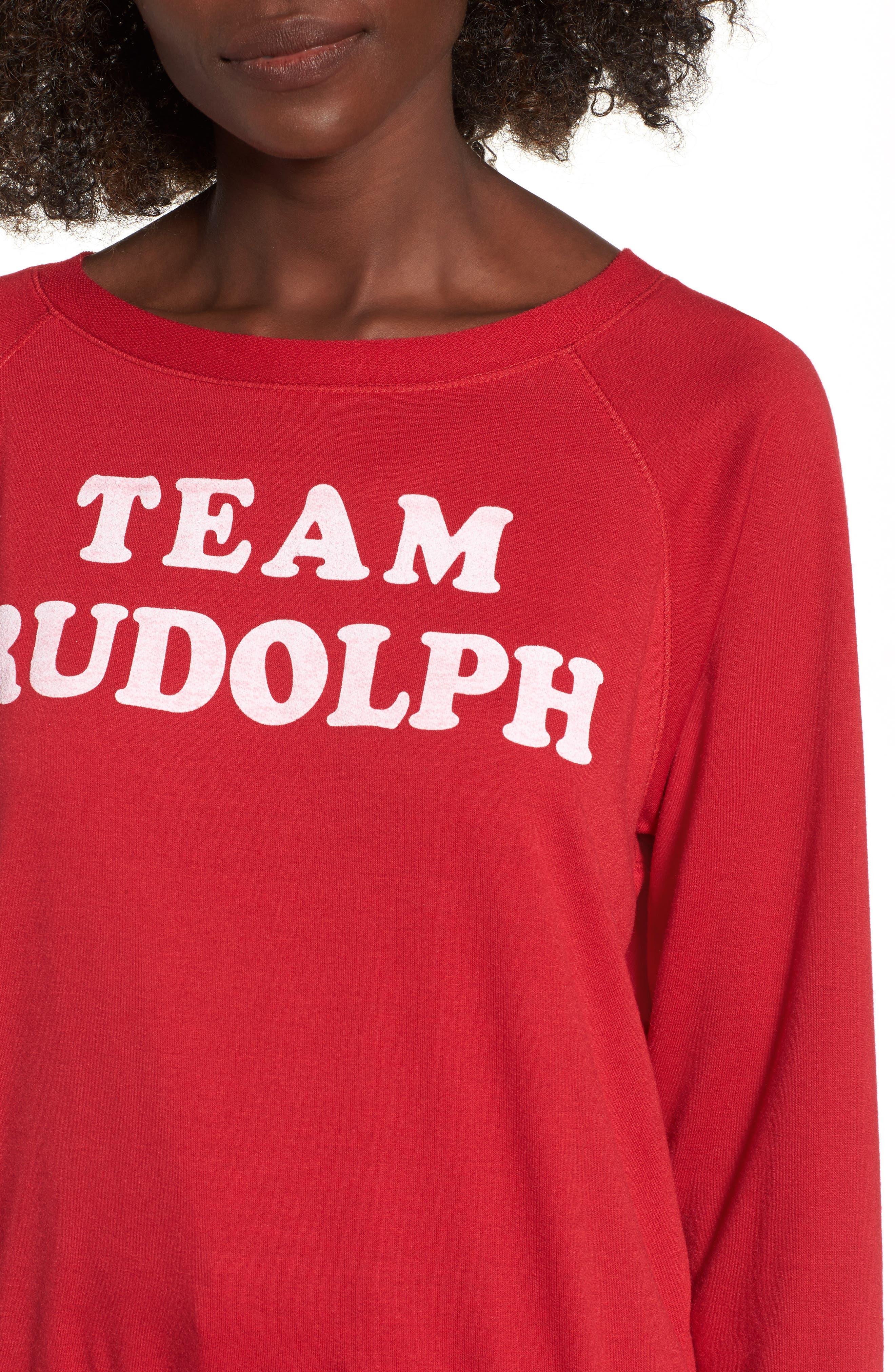 Team Rudolph Sweatshirt,                             Alternate thumbnail 4, color,                             Burgundy