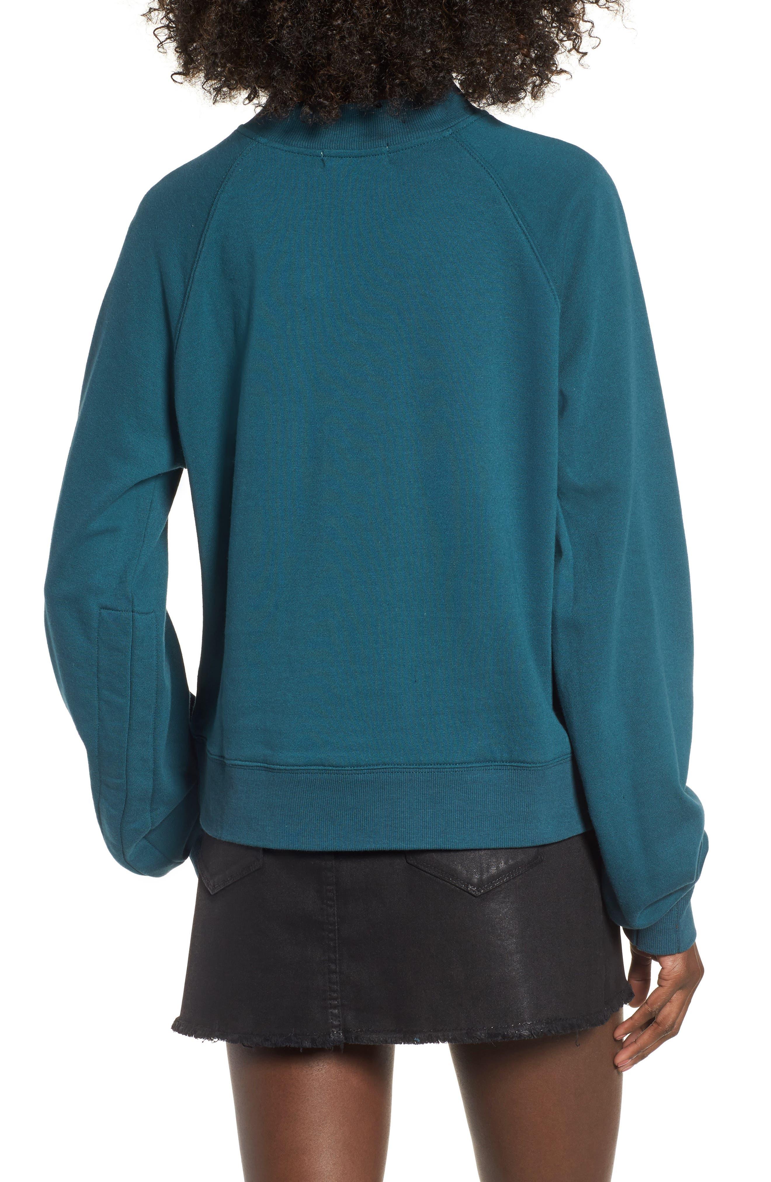 Cinched Sleeve Sweatshirt,                             Alternate thumbnail 2, color,                             Teal