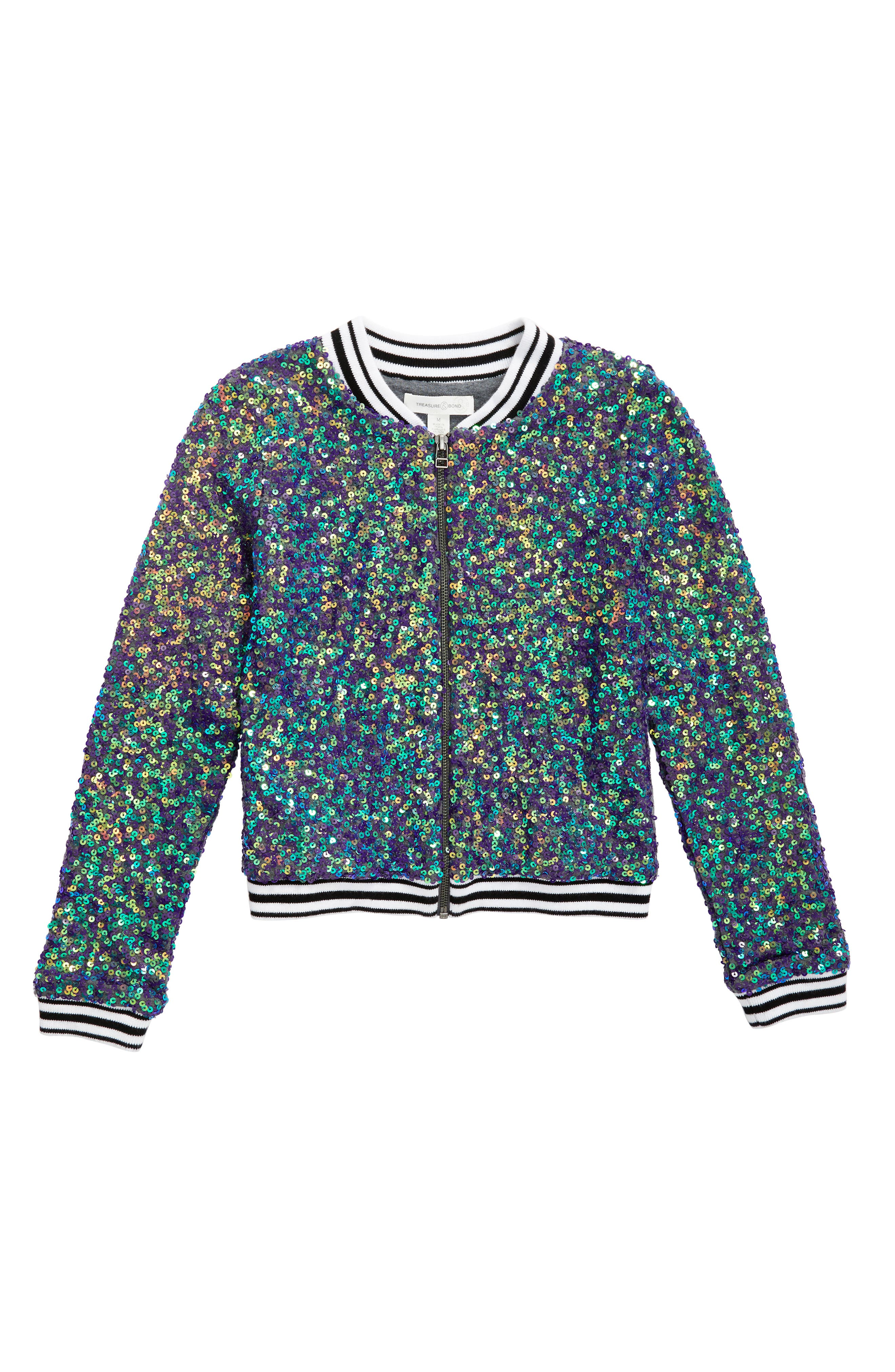 Treasure & Bond Sequin Bomber Jacket (Big Girls)