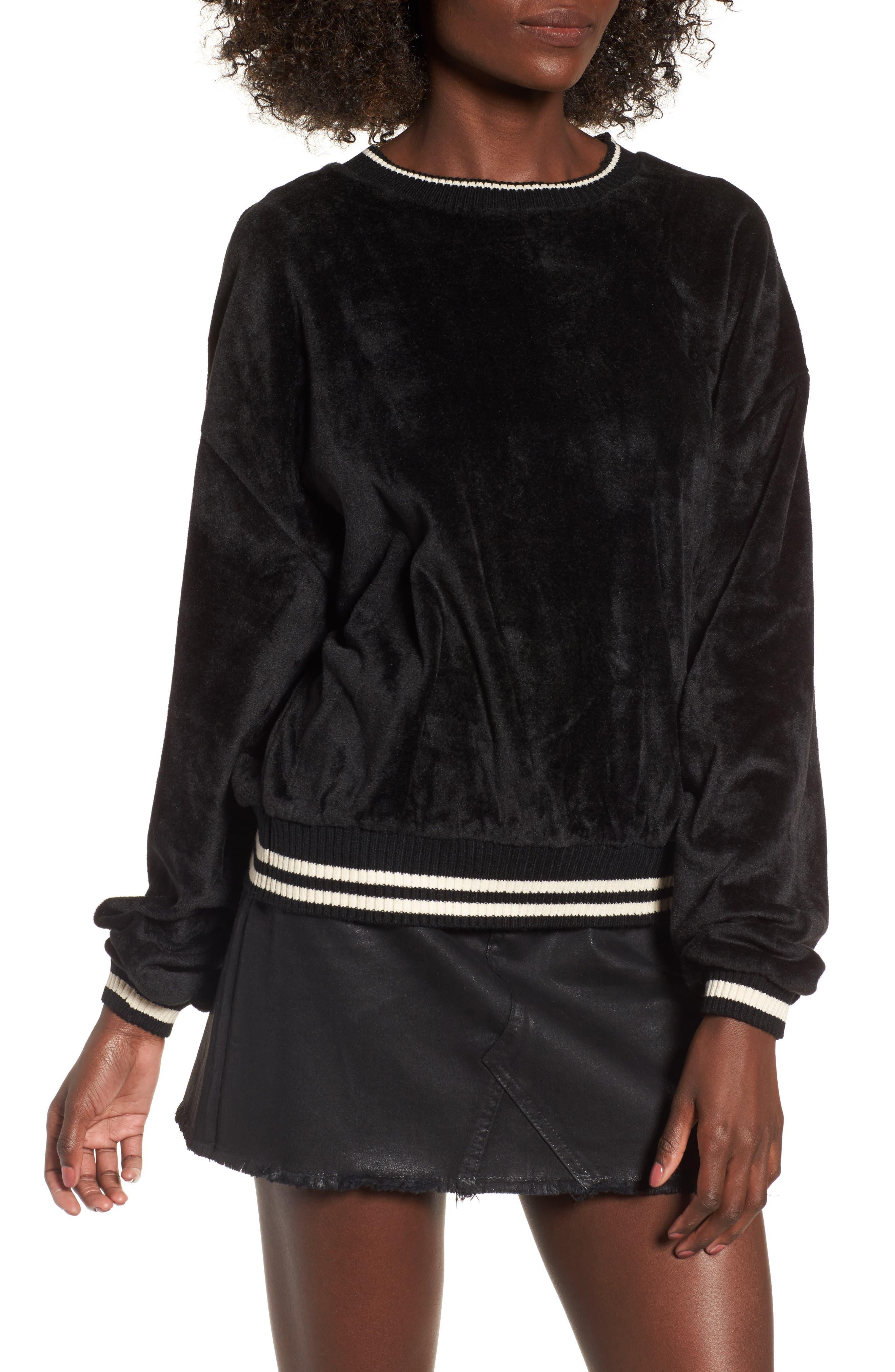 Velour Sweatshirt,                             Main thumbnail 1, color,                             Black