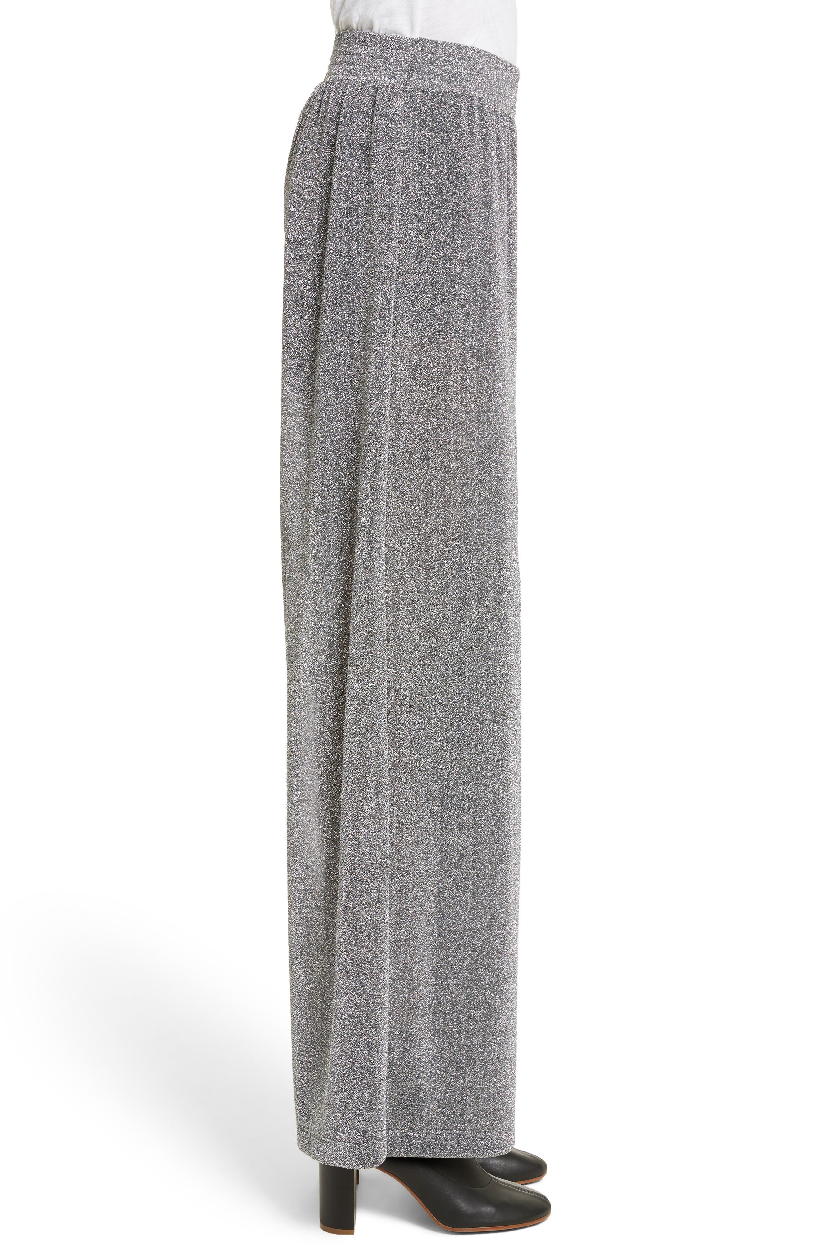 Metallic Jersey Wide Leg Pants,                             Alternate thumbnail 4, color,                             Grey