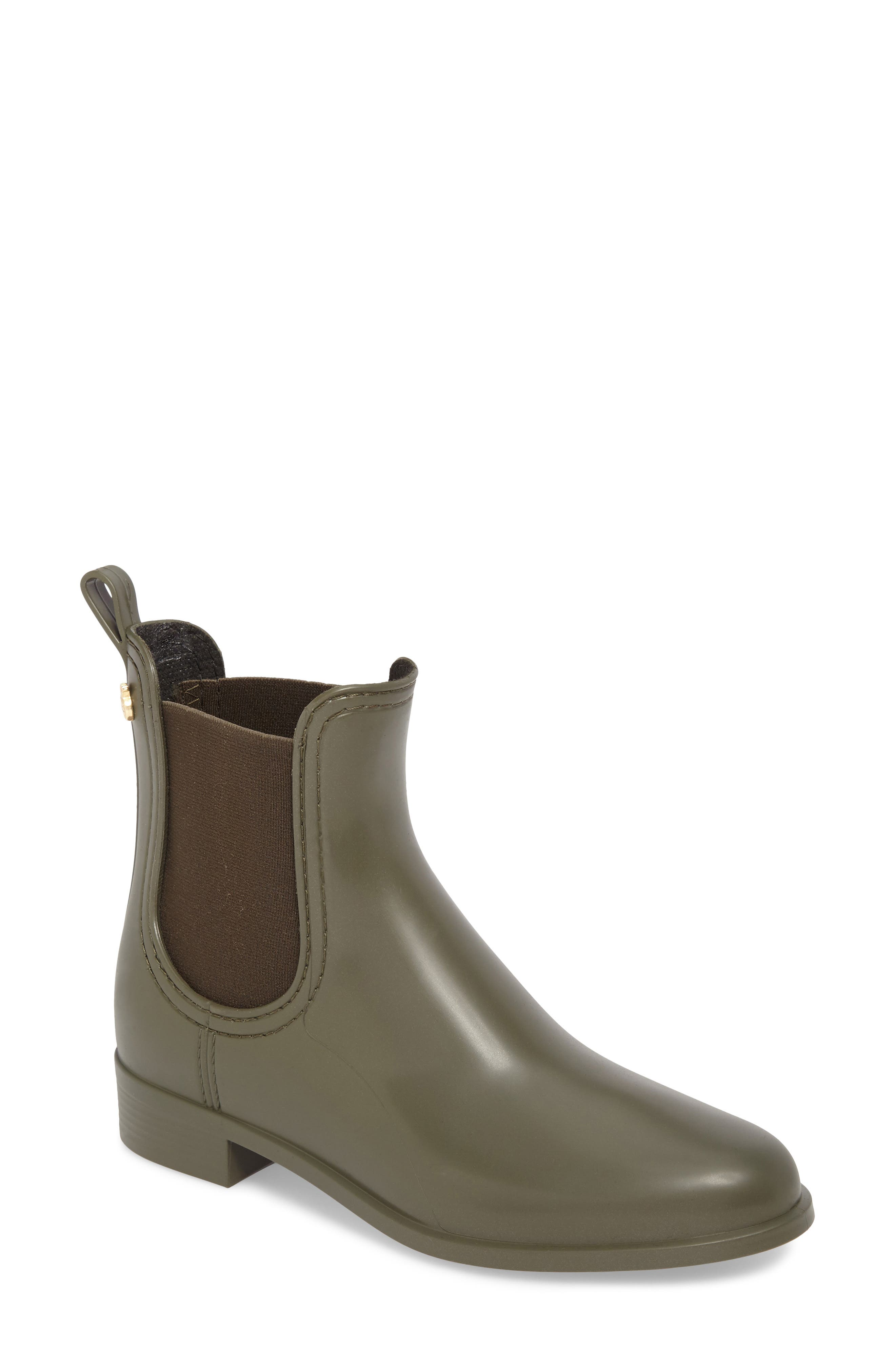 Splash Waterproof Chelsea Boot,                             Main thumbnail 1, color,                             Metal Green Matte
