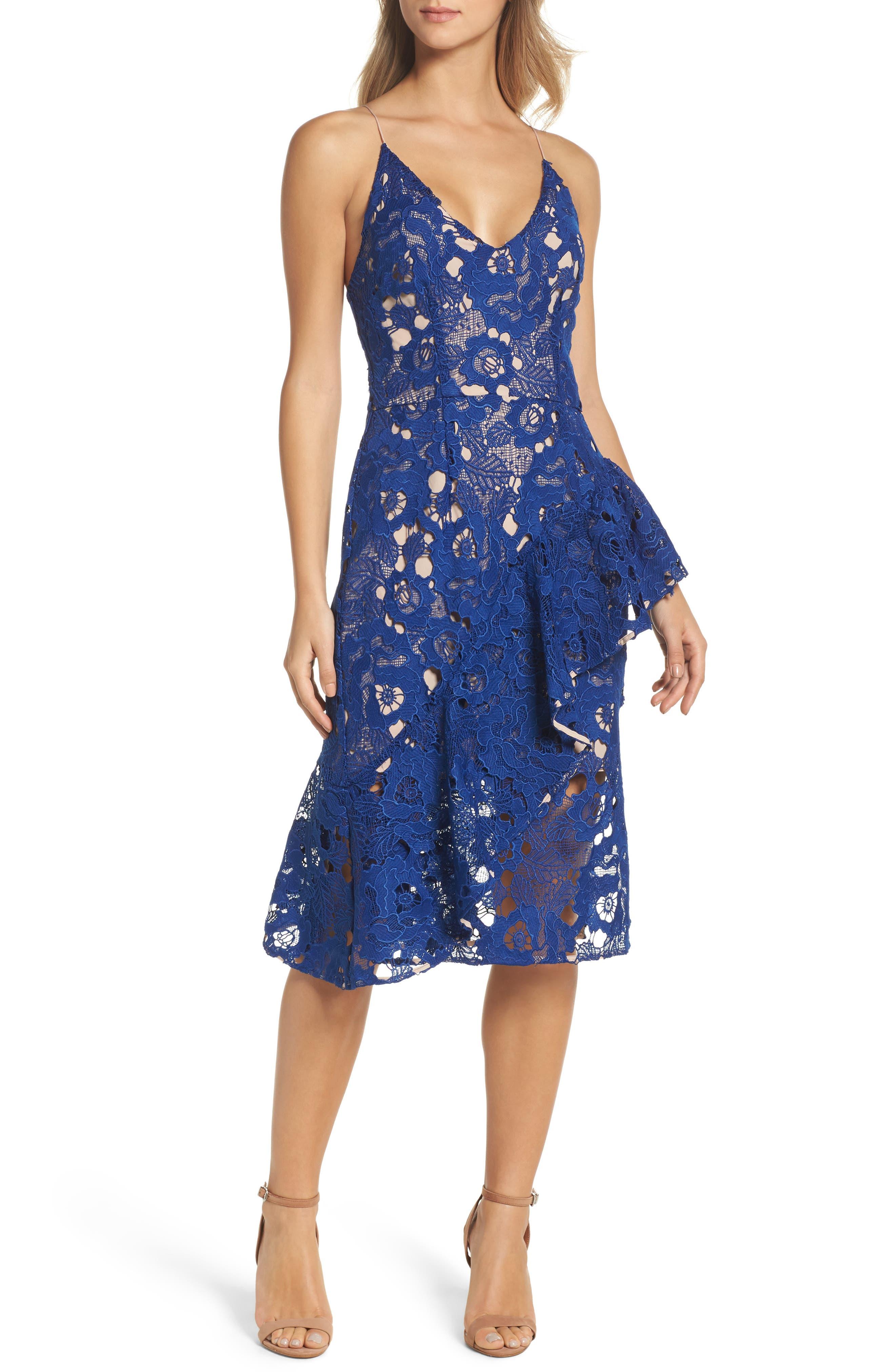 Sky Beauty Lace Ruffle Dress,                             Main thumbnail 1, color,                             Catalina Blue
