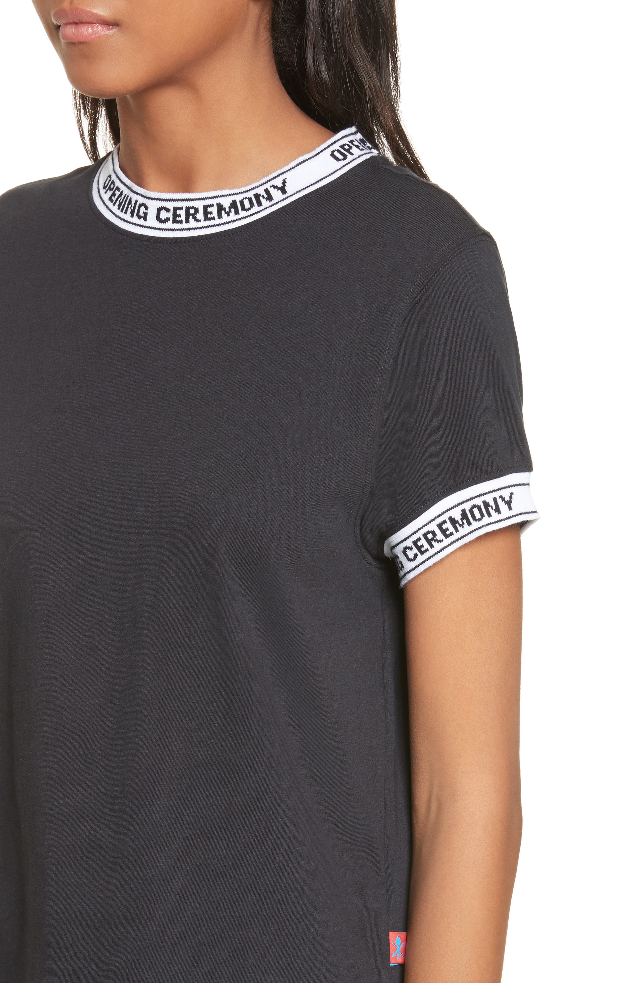 Banded Tee,                             Alternate thumbnail 4, color,                             Black