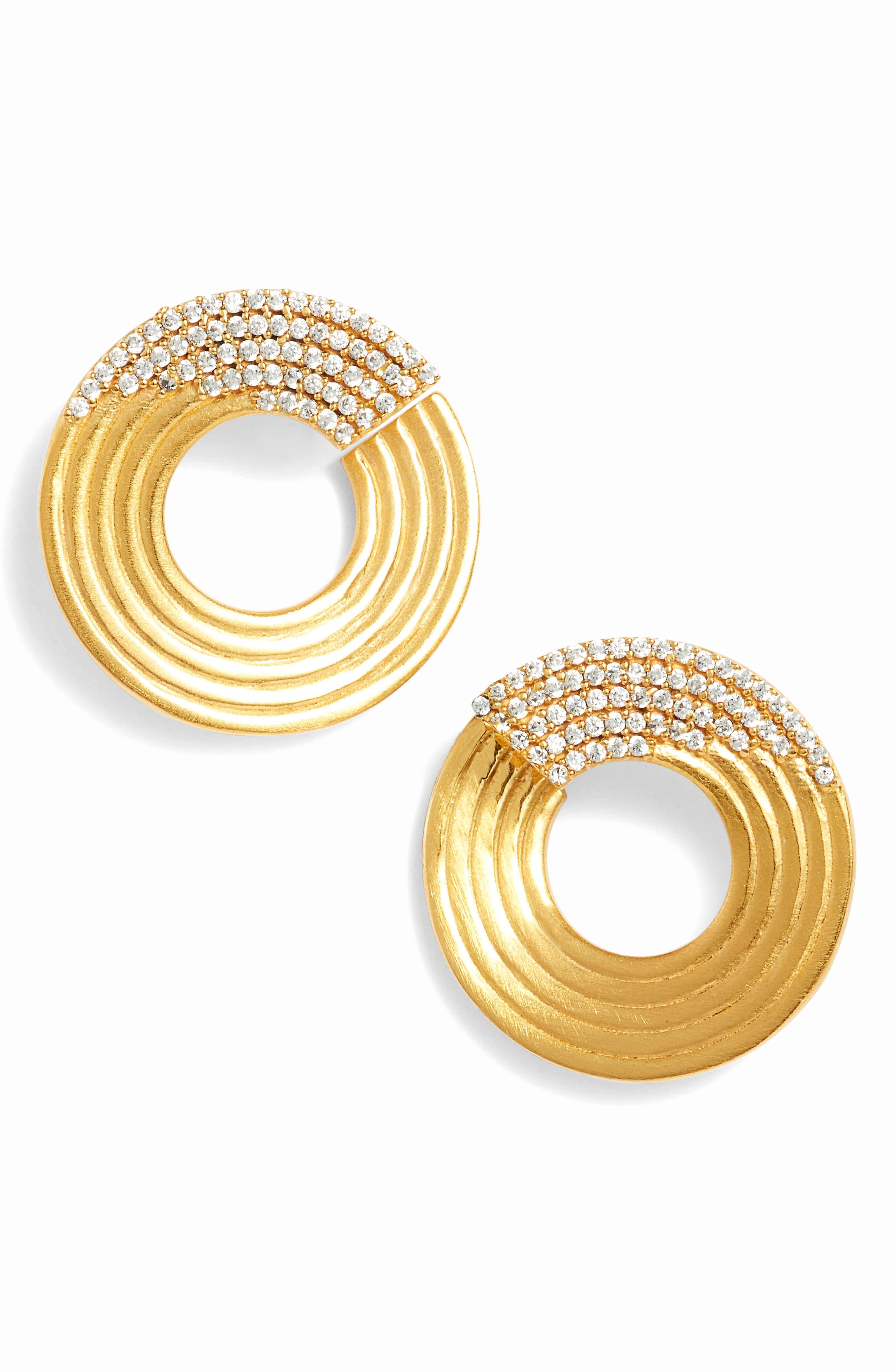 Zaha Stud Earrings,                             Main thumbnail 1, color,                             White Topaz/ Gold
