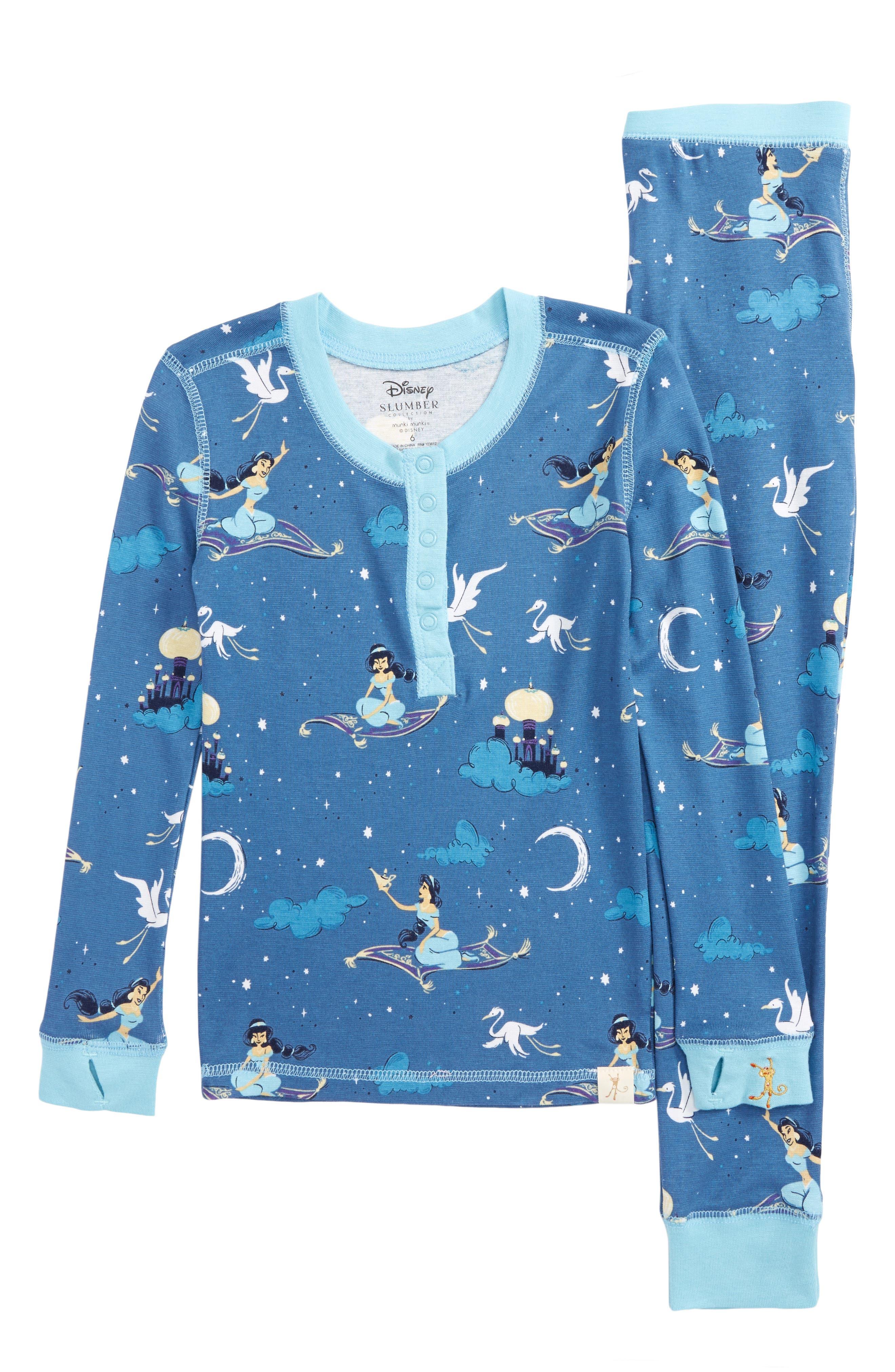 Disney – Princess Jasmine Fitted Two-Piece Pajamas,                             Main thumbnail 1, color,                             Navy Jasmine