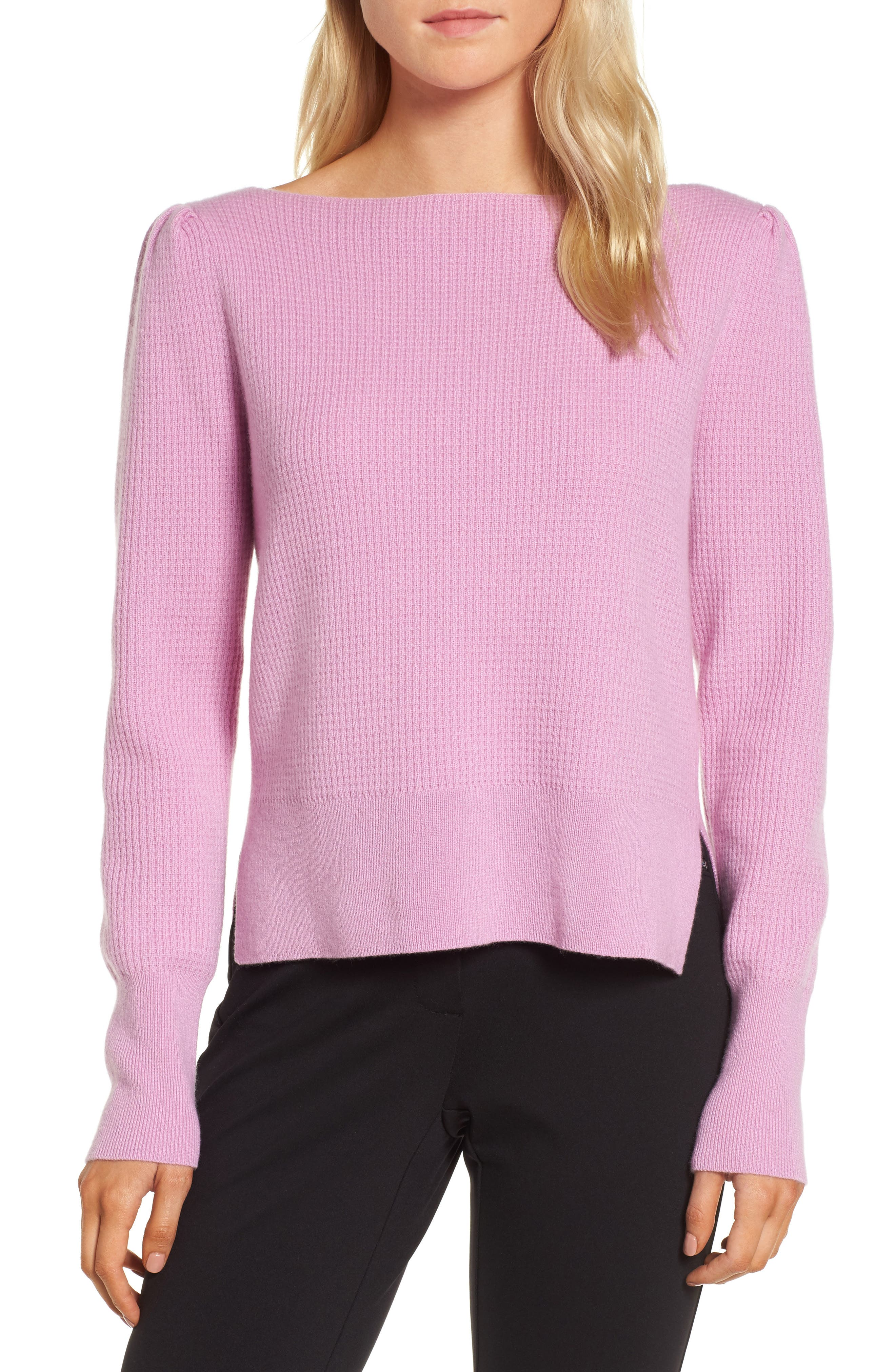 Waffle Stitch Cashmere Sweater,                         Main,                         color, Pink Gale
