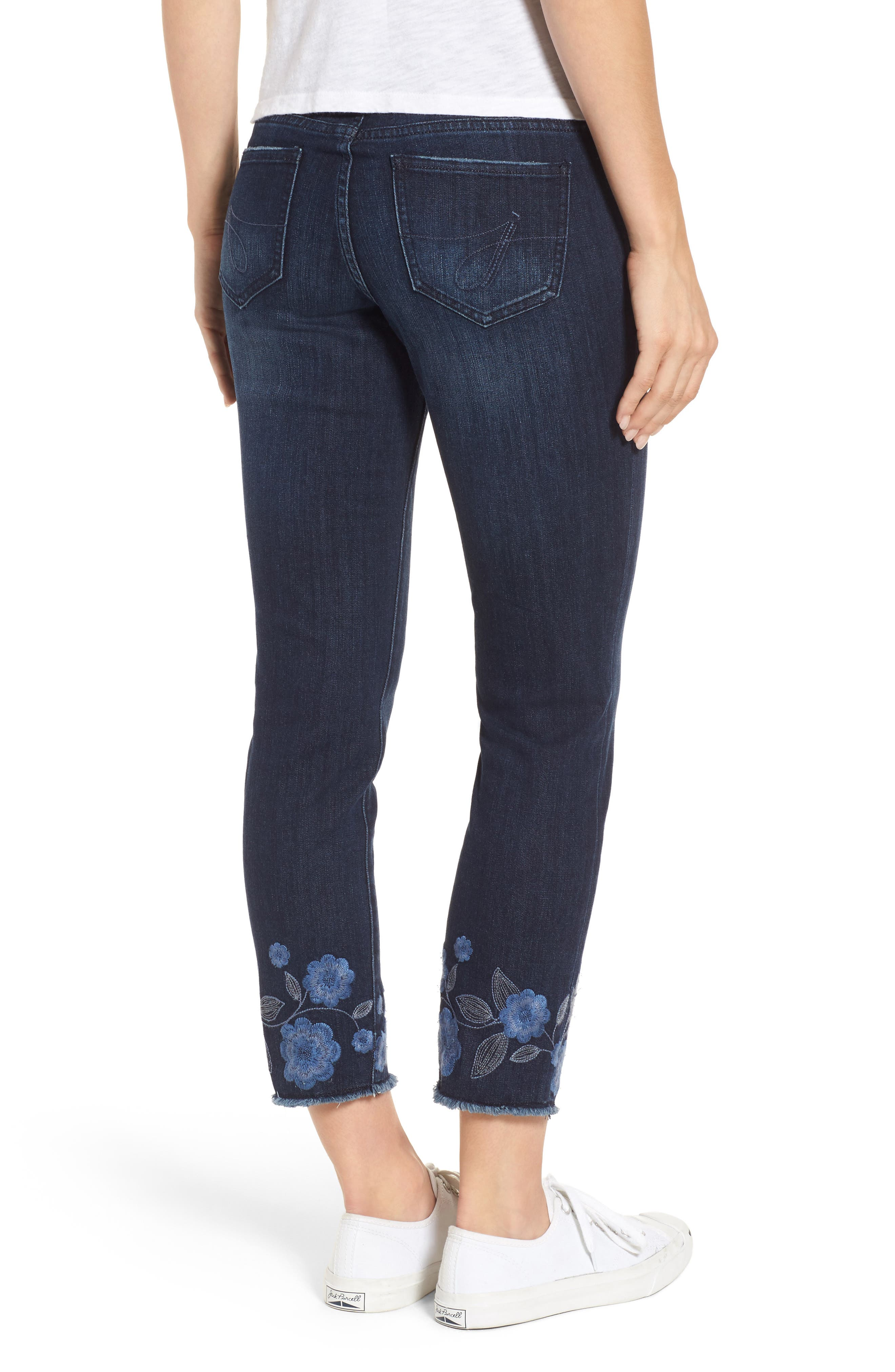 Amelia Embroidered Slim Ankle Jeans,                             Alternate thumbnail 2, color,                             Meteor Wash