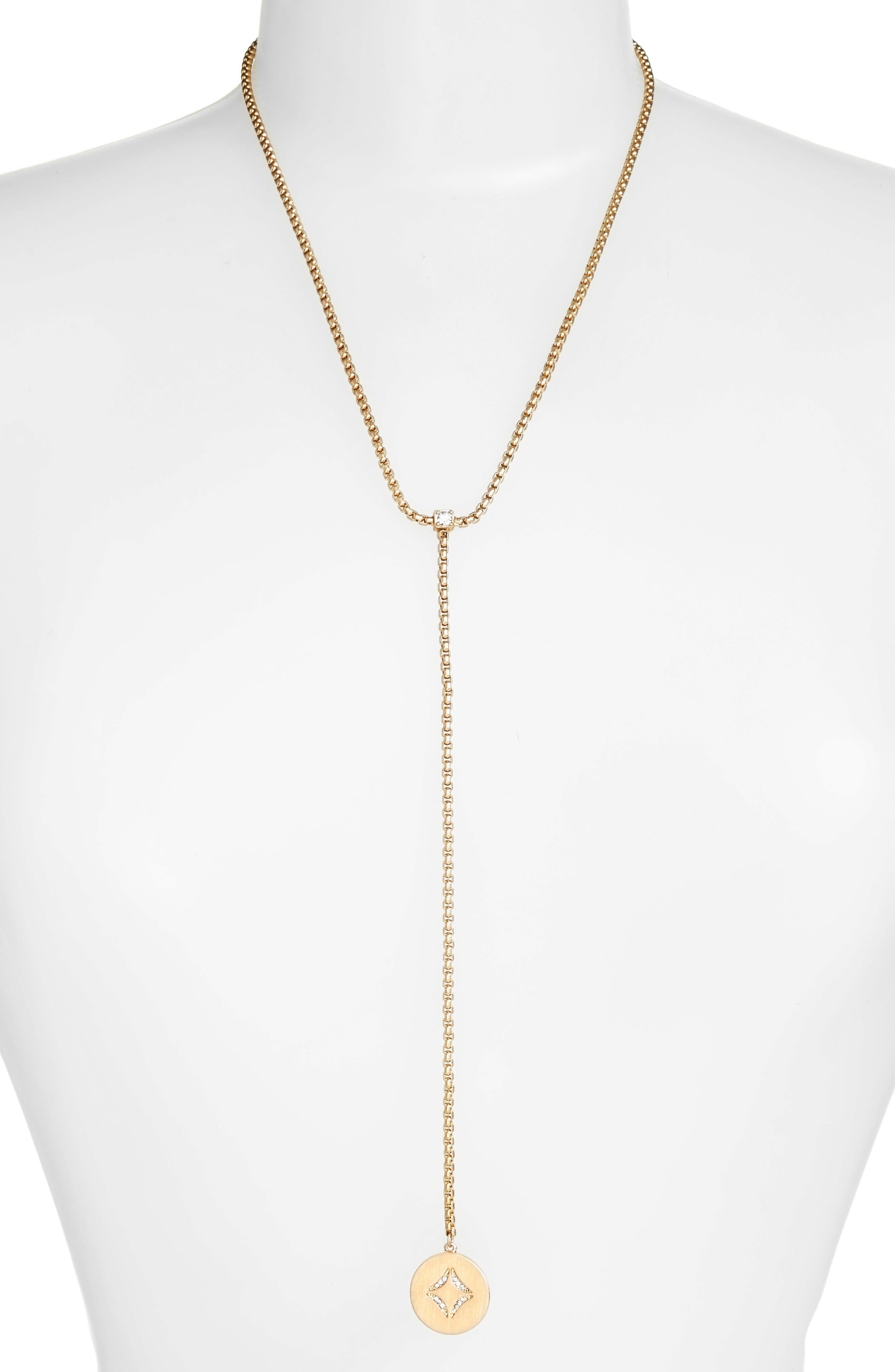 Pavé Disc Y Necklace,                         Main,                         color, Clear- Gold