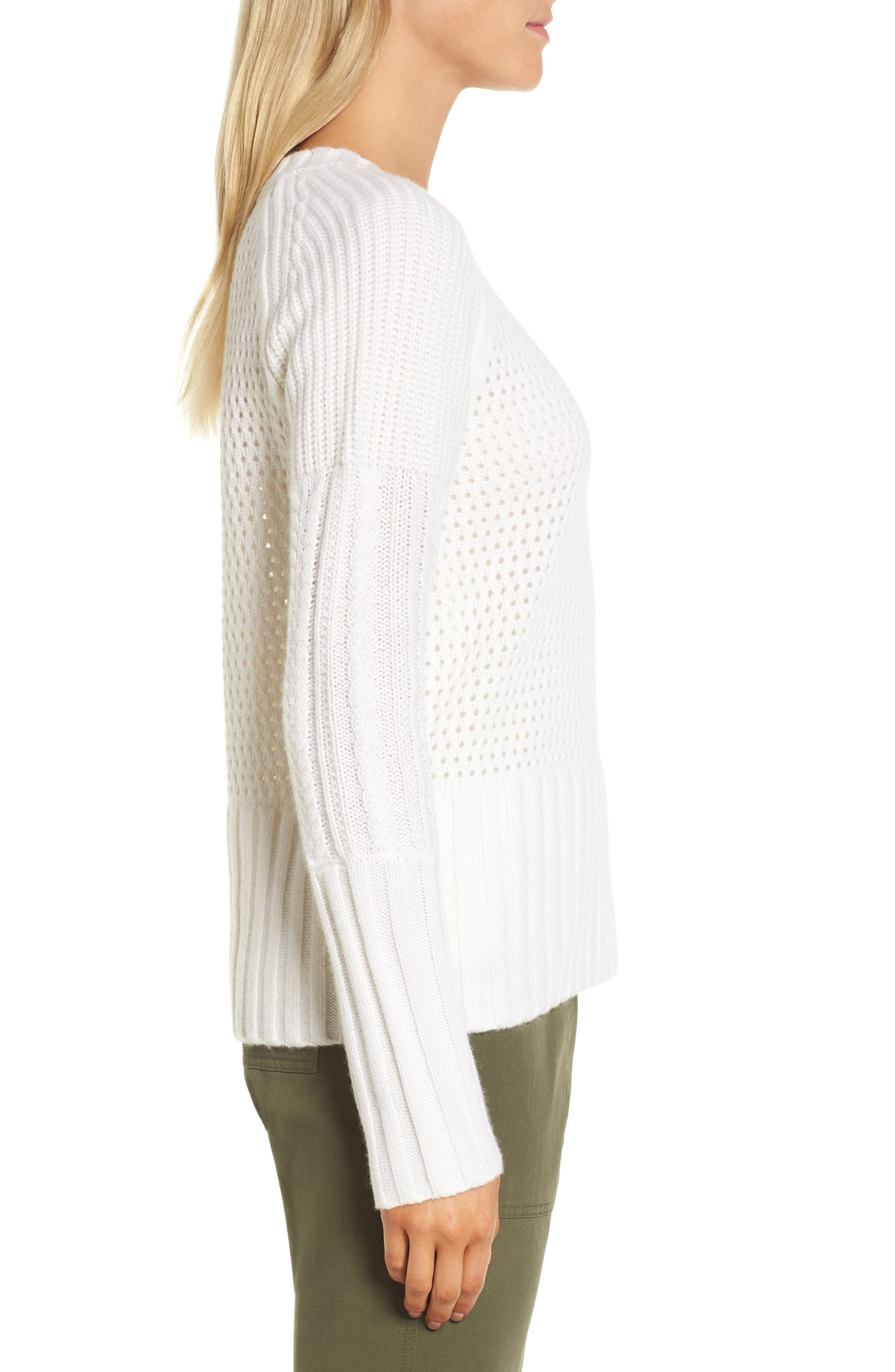 Alternate Image 3  - Nordstrom Signature Mixed Stitch Cashmere Sweater
