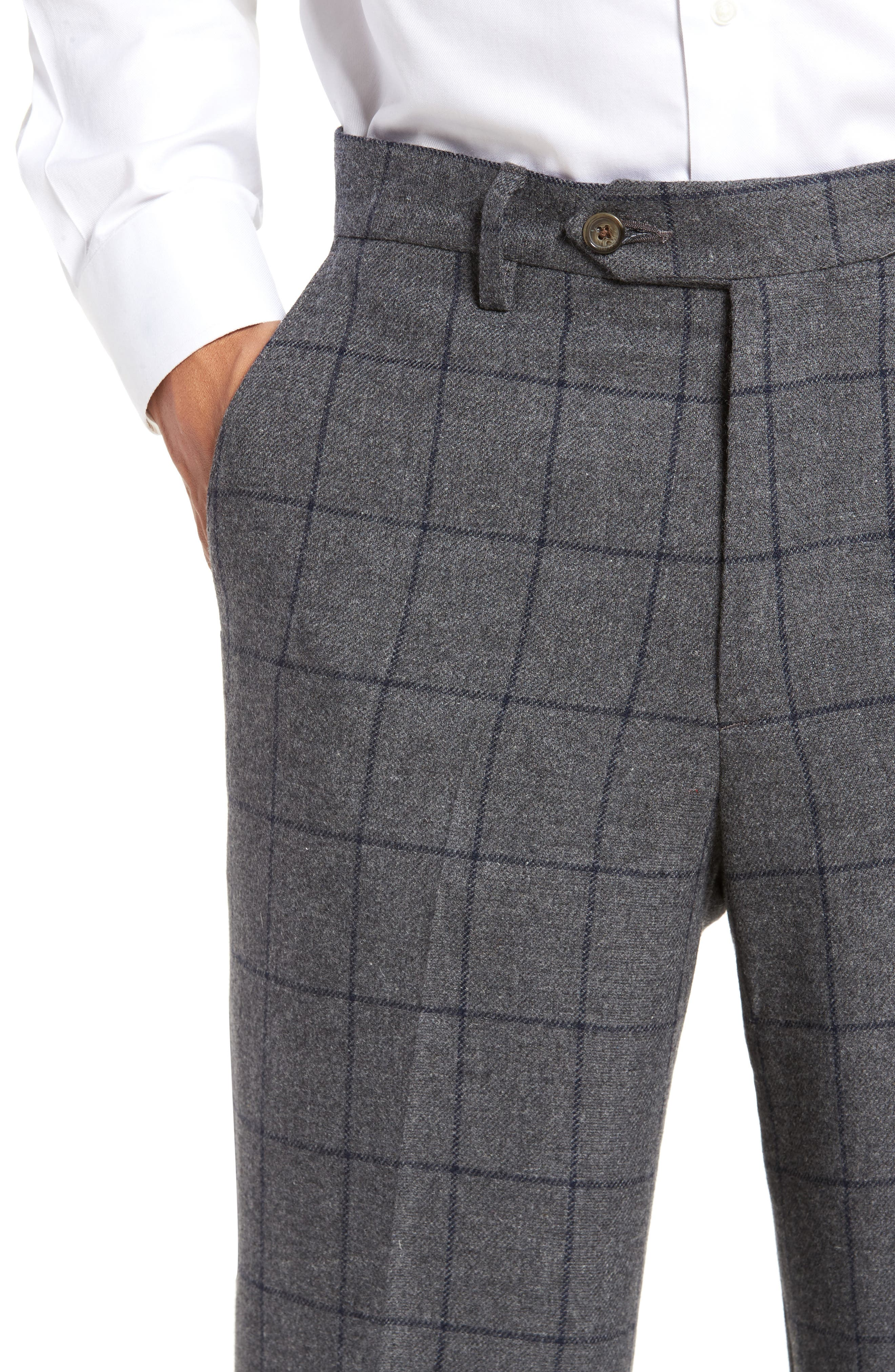 Flat Front Windowpane Wool Blend Trousers,                             Alternate thumbnail 4, color,                             Grey