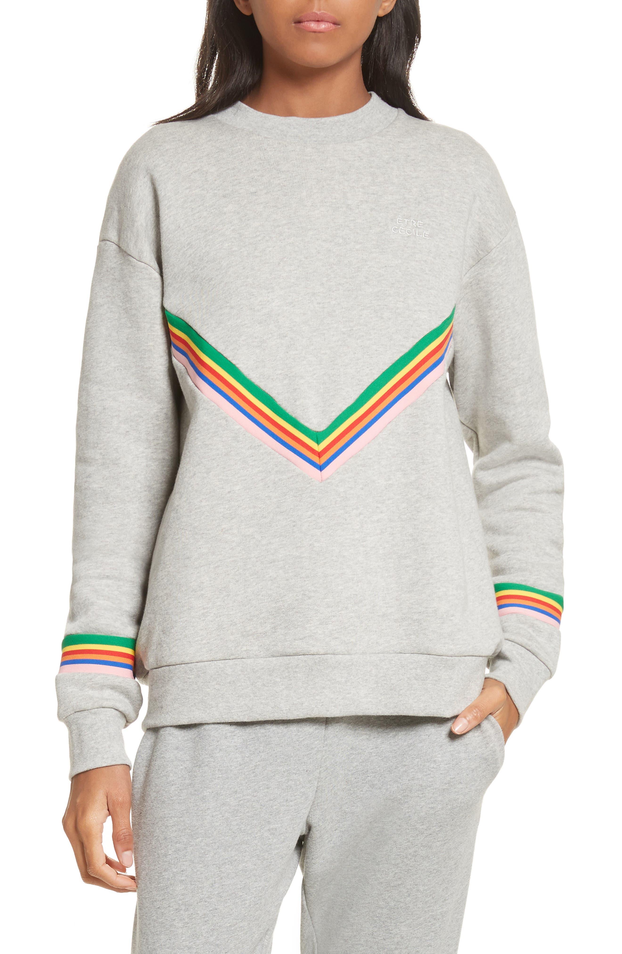 être cécile Rainbow Cotton Boyfriend Sweatshirt,                         Main,                         color, Grey Marl