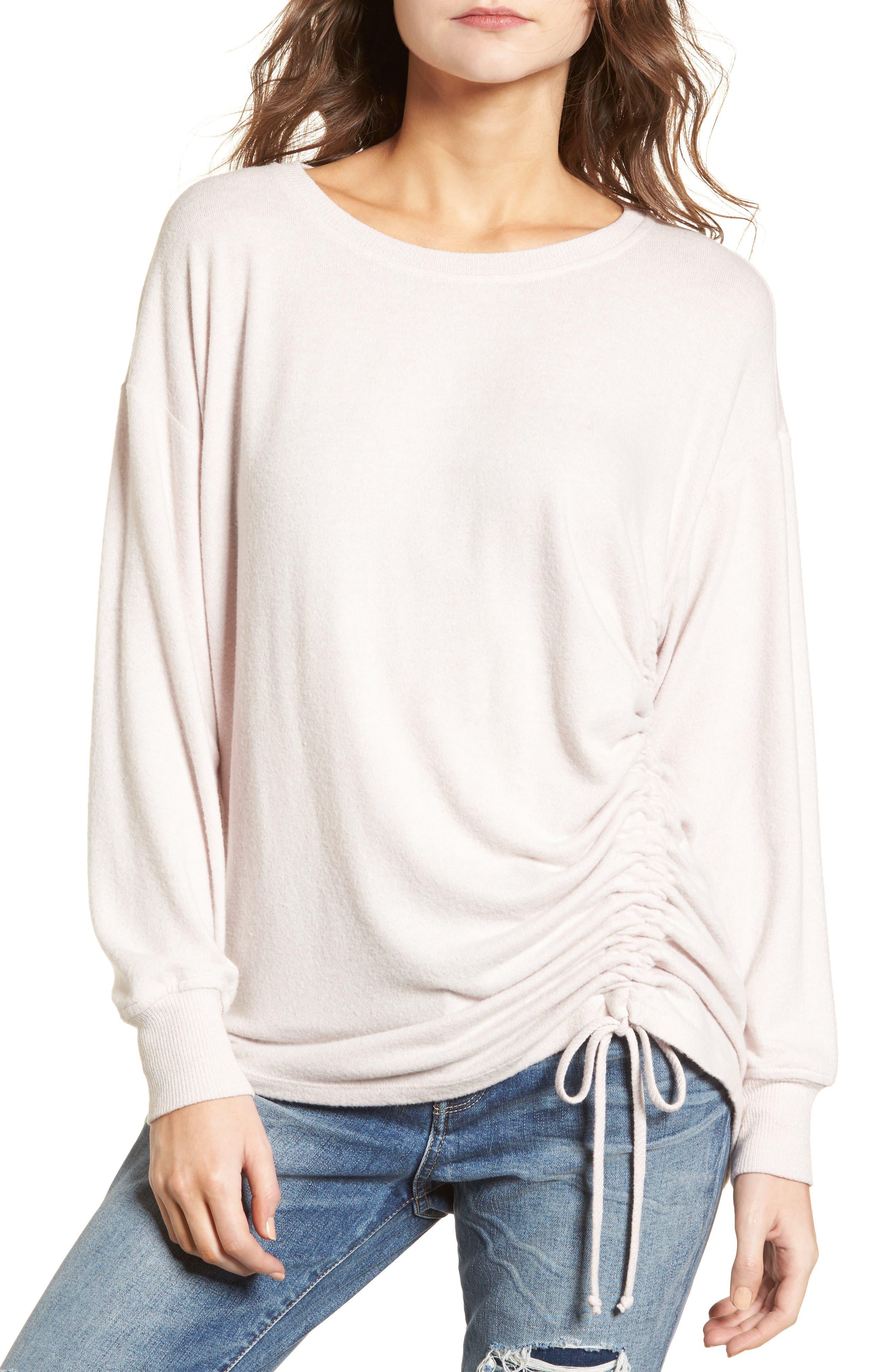 Side Cinch Sweatshirt,                             Main thumbnail 1, color,                             Pink Hush