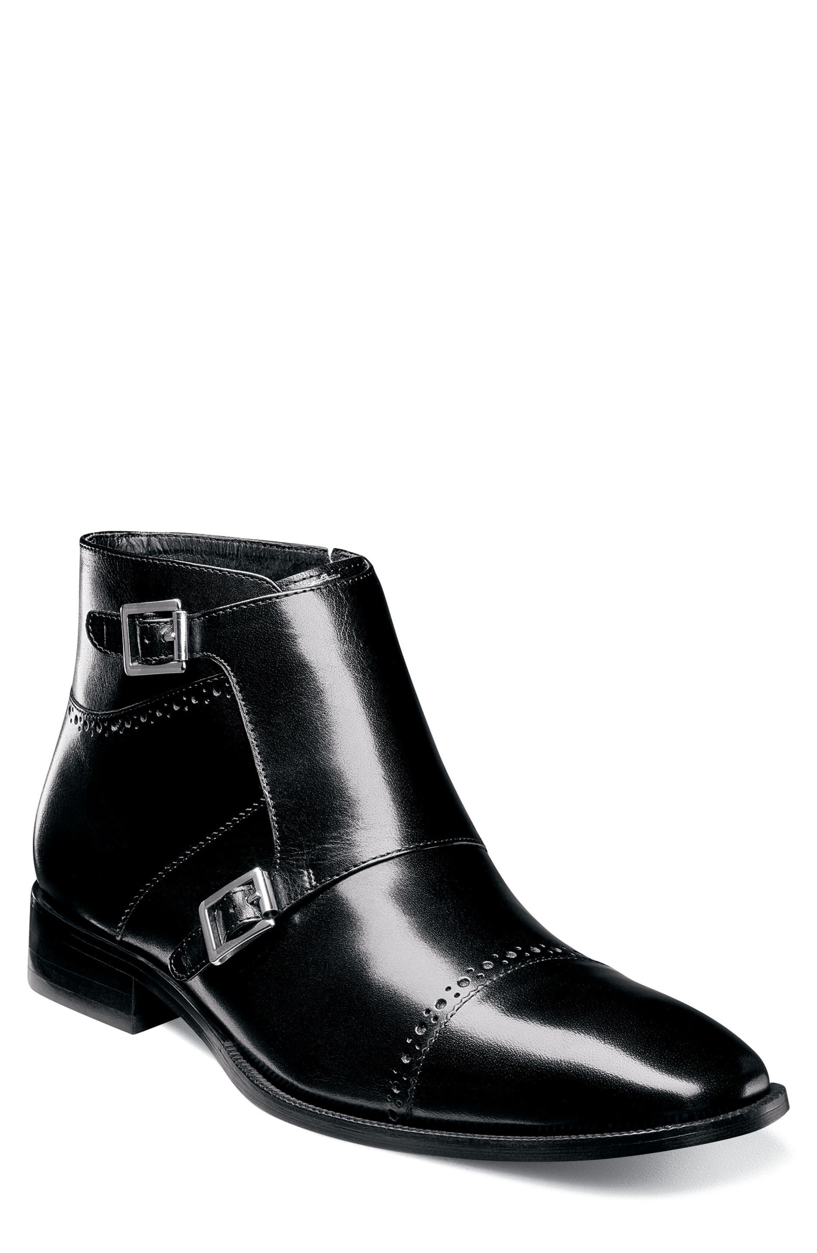 Kason Double Monk Strap Boot,                             Main thumbnail 1, color,                             Black Leather