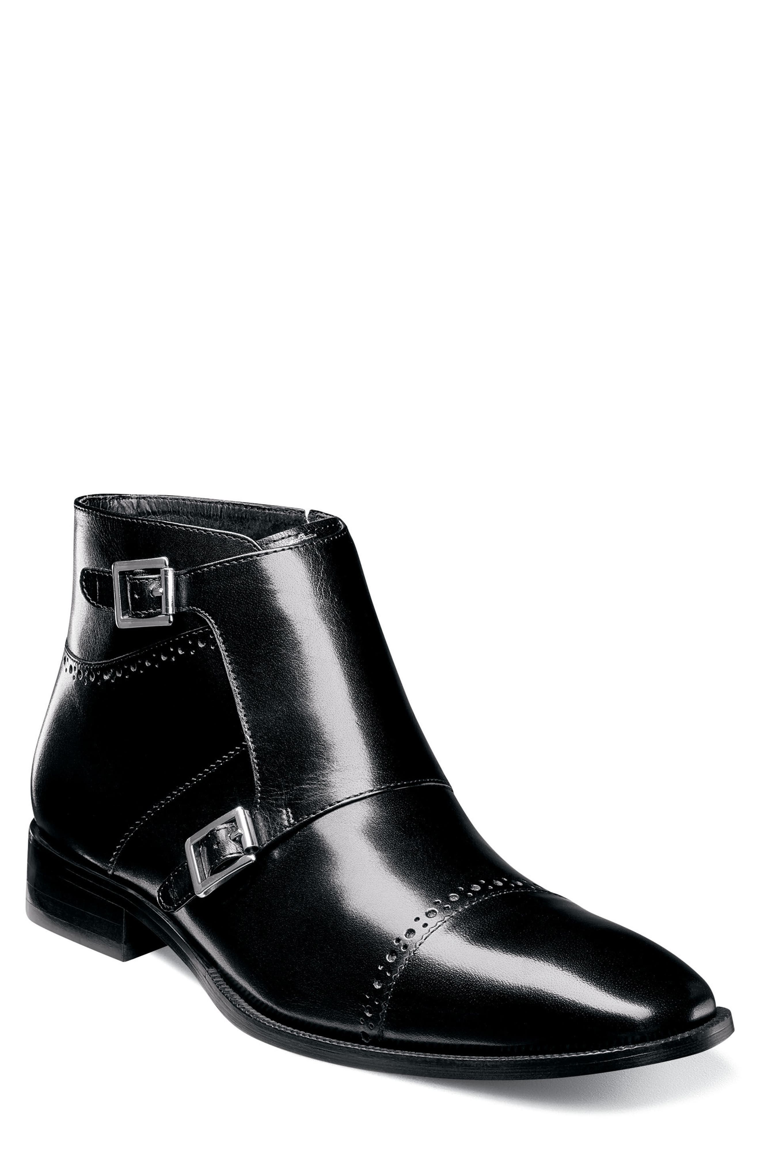 Kason Double Monk Strap Boot,                         Main,                         color, Black Leather