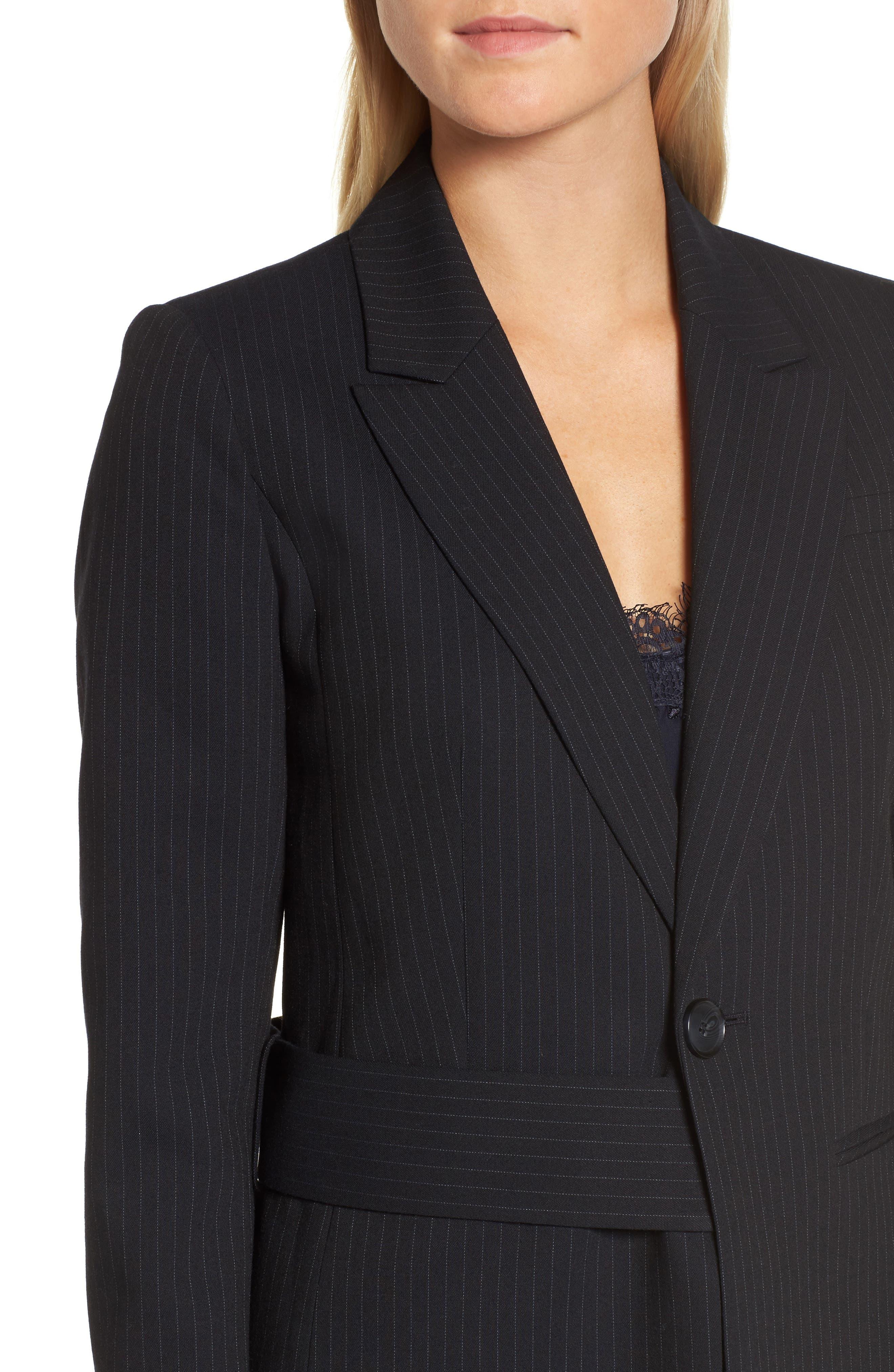 Pinstripe Suit Jacket,                             Alternate thumbnail 5, color,                             Navy Night Pinstripe