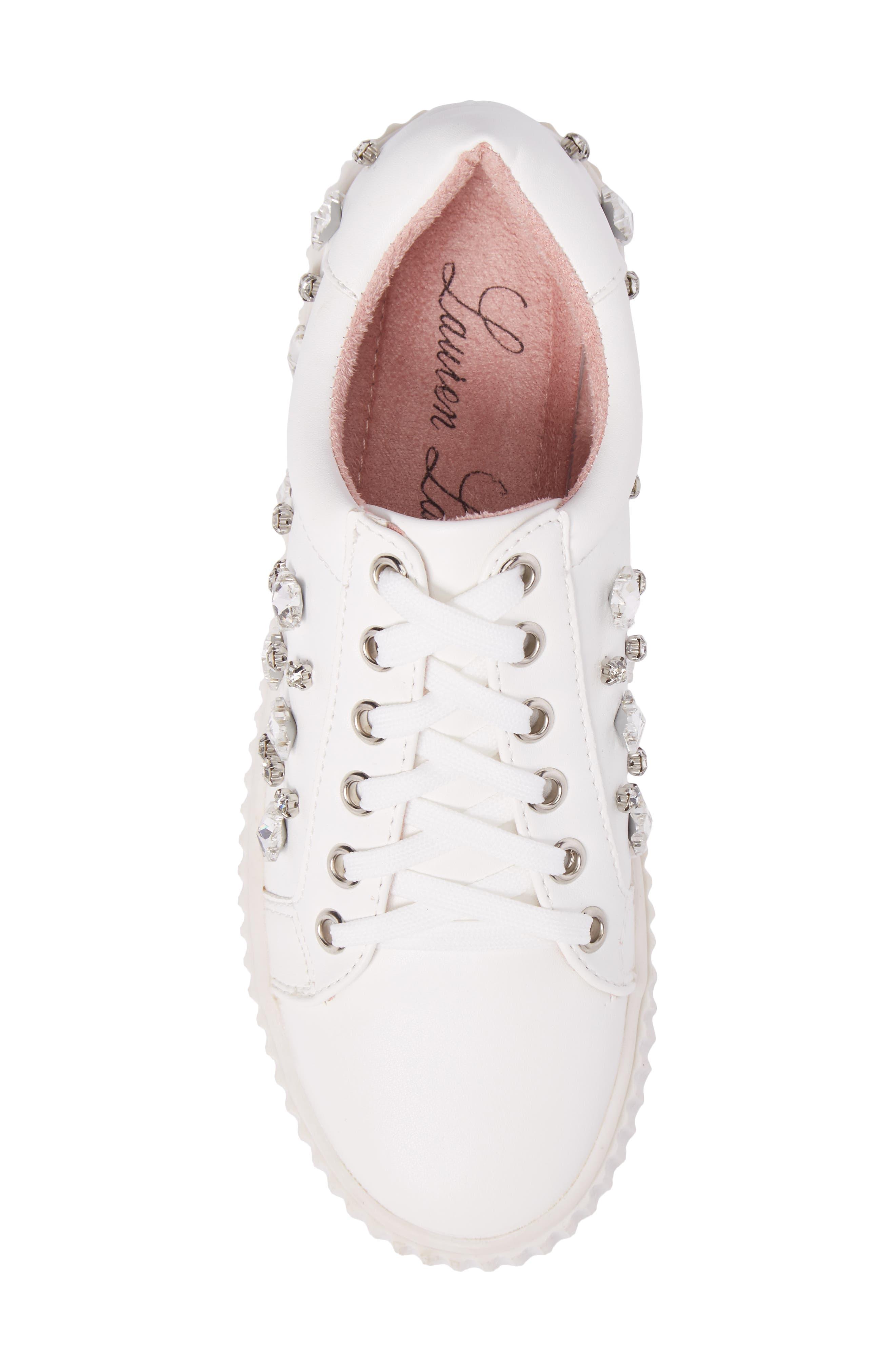 Pam Embellished Platform Sneaker,                             Alternate thumbnail 5, color,                             White