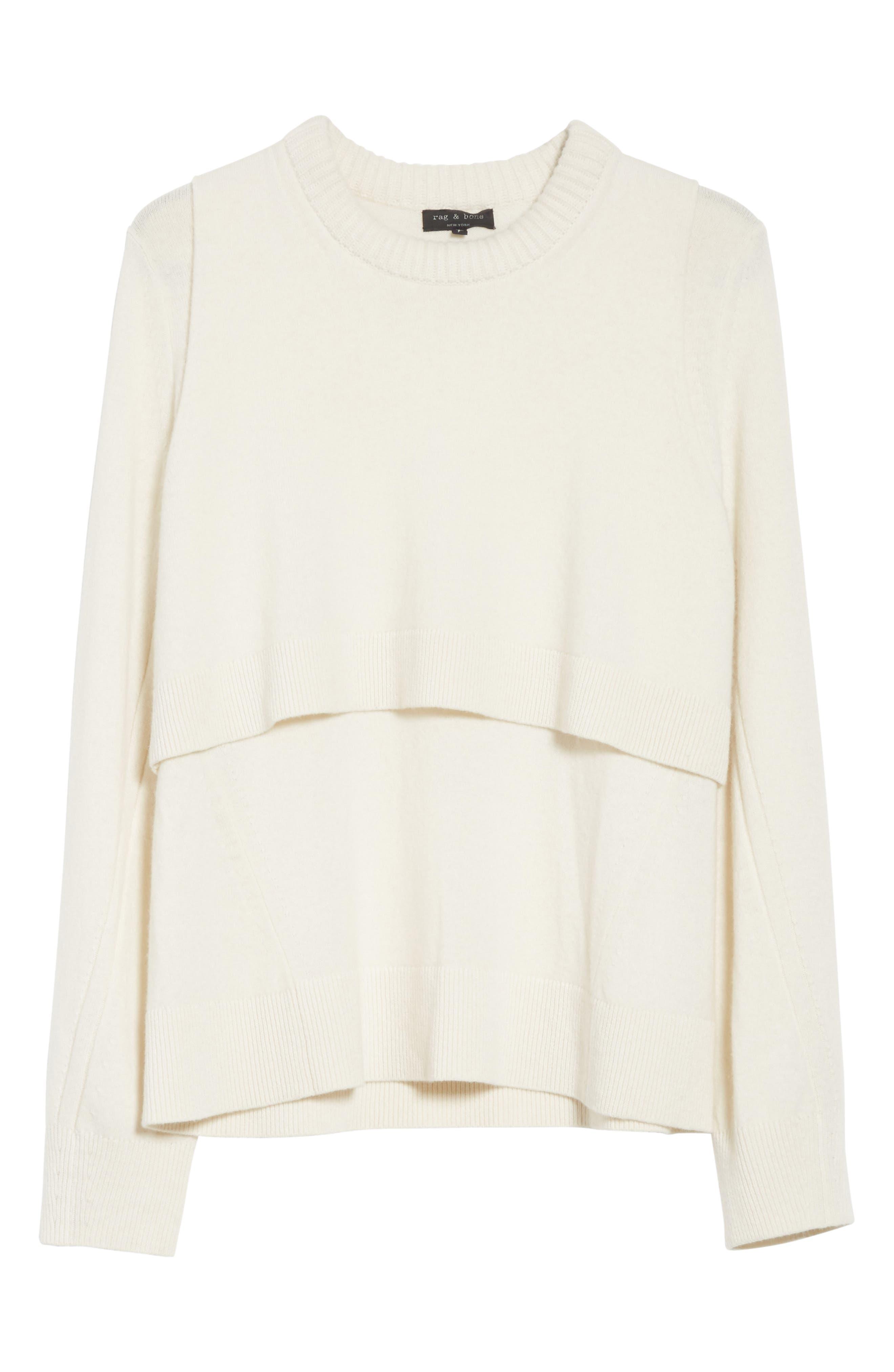 Preston Cashmere Crewneck Sweater,                             Alternate thumbnail 6, color,                             Ivory