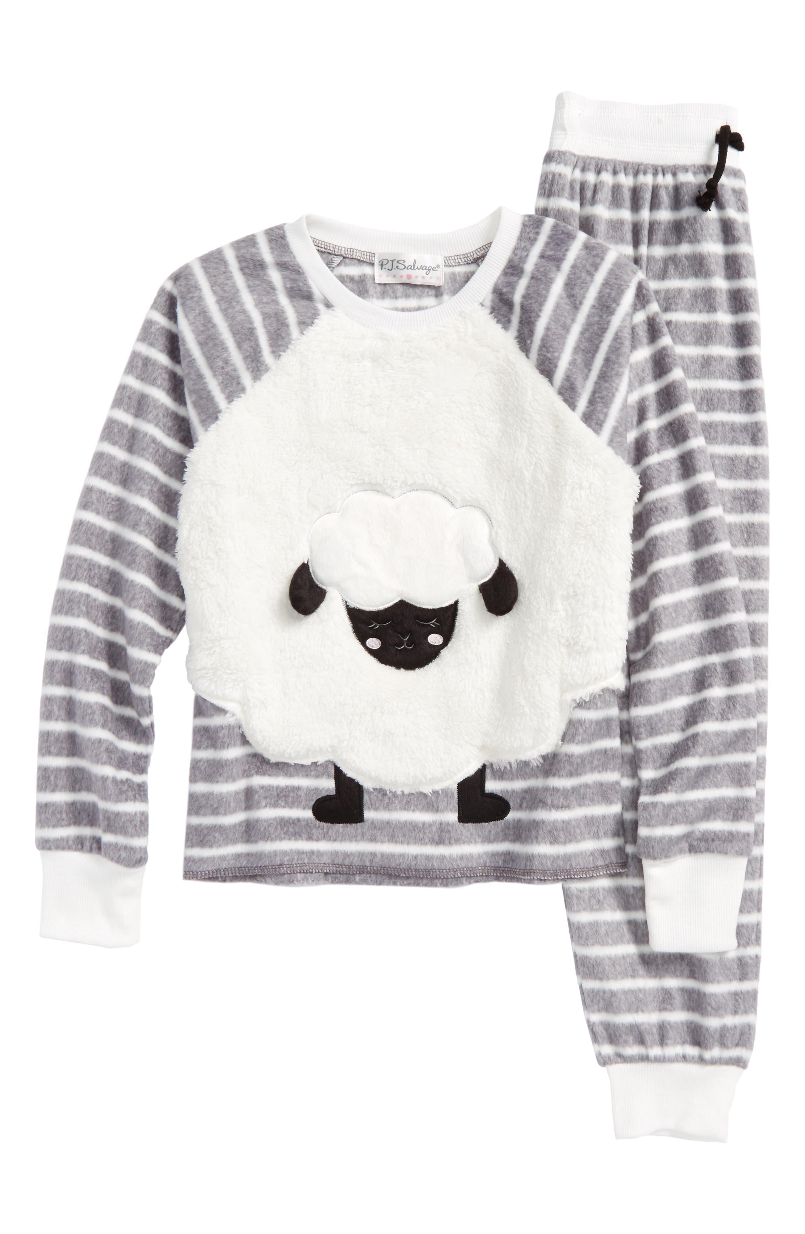 Alternate Image 1 Selected - PJ Salvage Appliqué Two-Piece Pajamas (Big Girls)