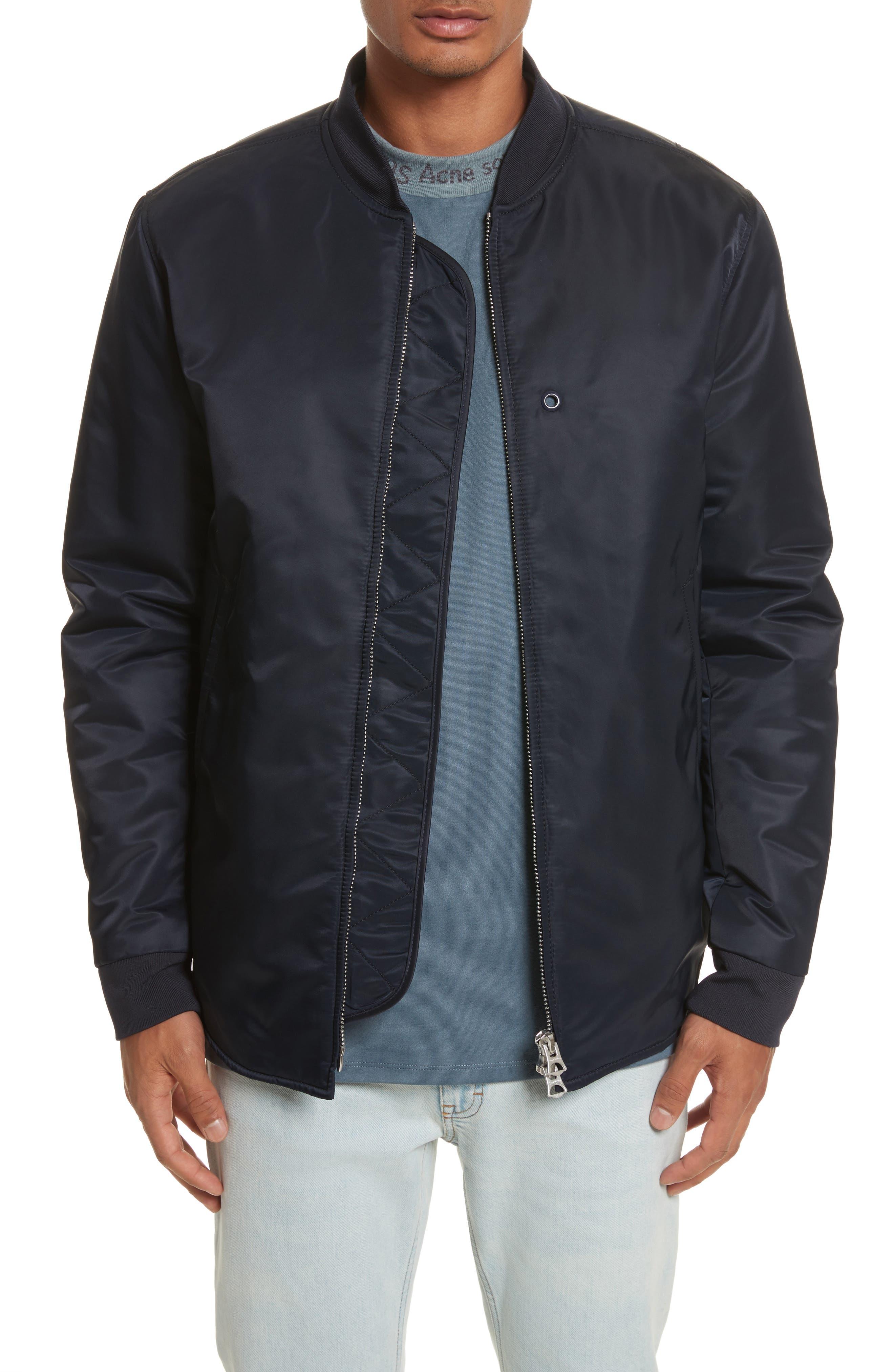 Nylon Bomber Jacket,                         Main,                         color, Steel Blue