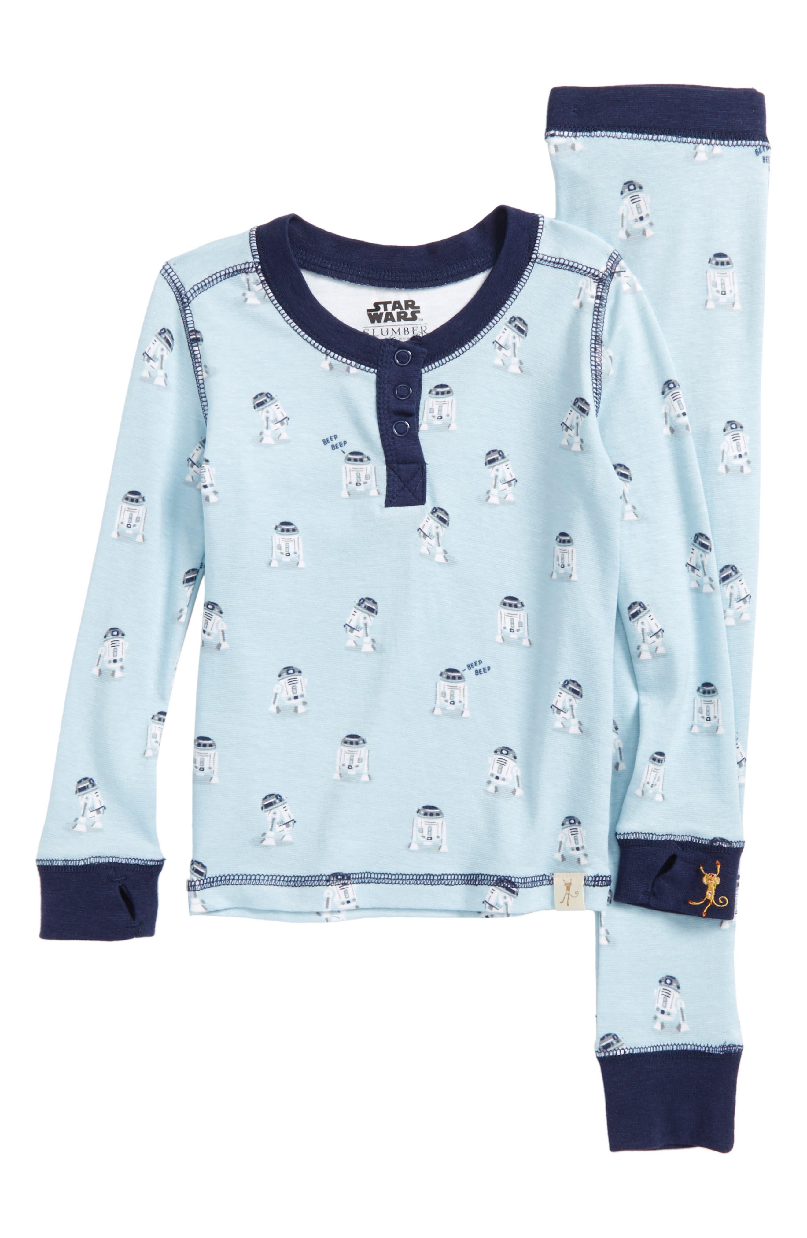 Main Image - Munki Munki Star Wars™ - R2-D2 Fitted Two-Piece Pajamas (Toddler Boys, Little Boys & Big Boys)