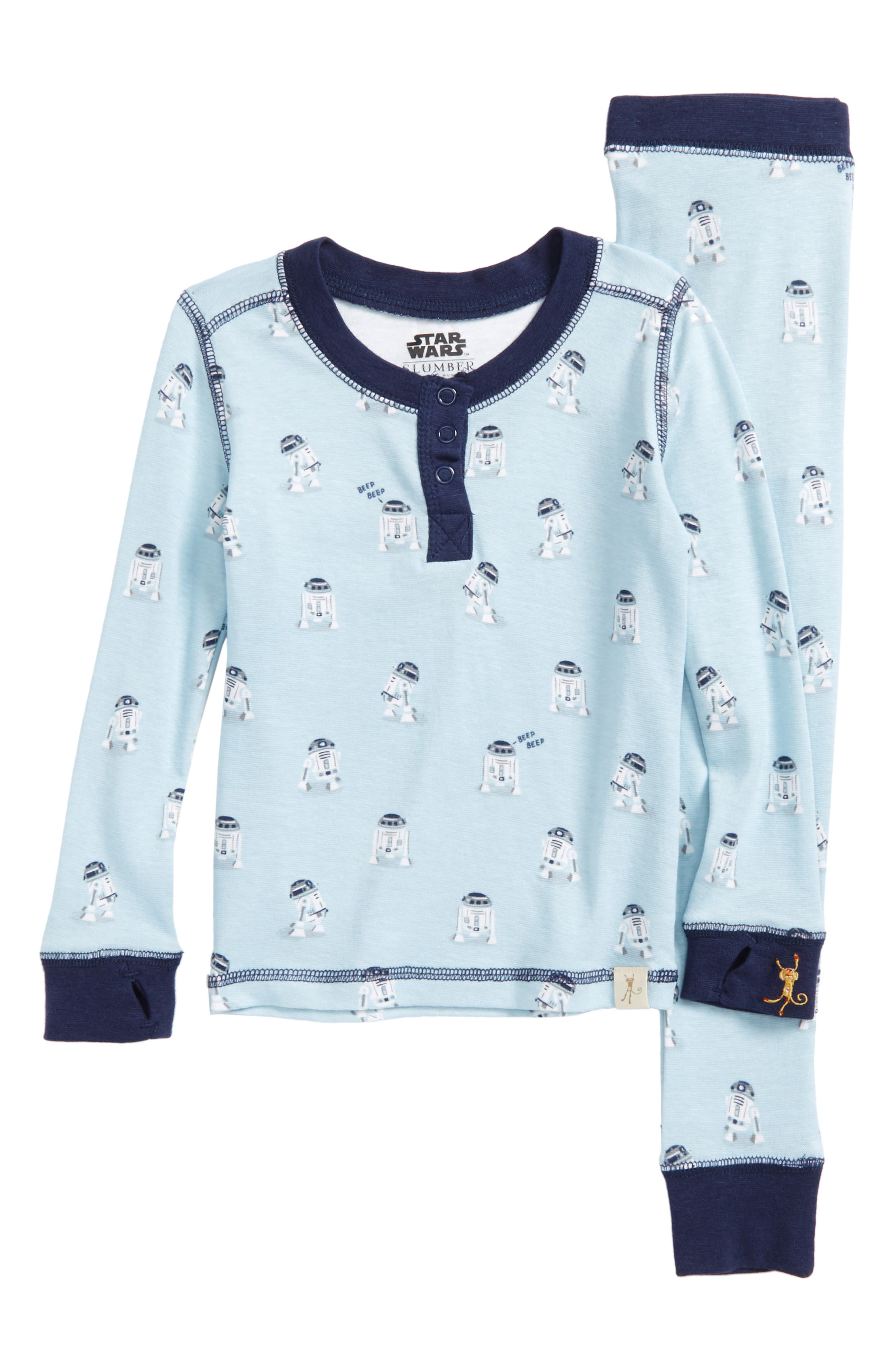 Star Wars<sup>™</sup> - R2-D2 Fitted Two-Piece Pajamas,                         Main,                         color, Light Grey R2d2
