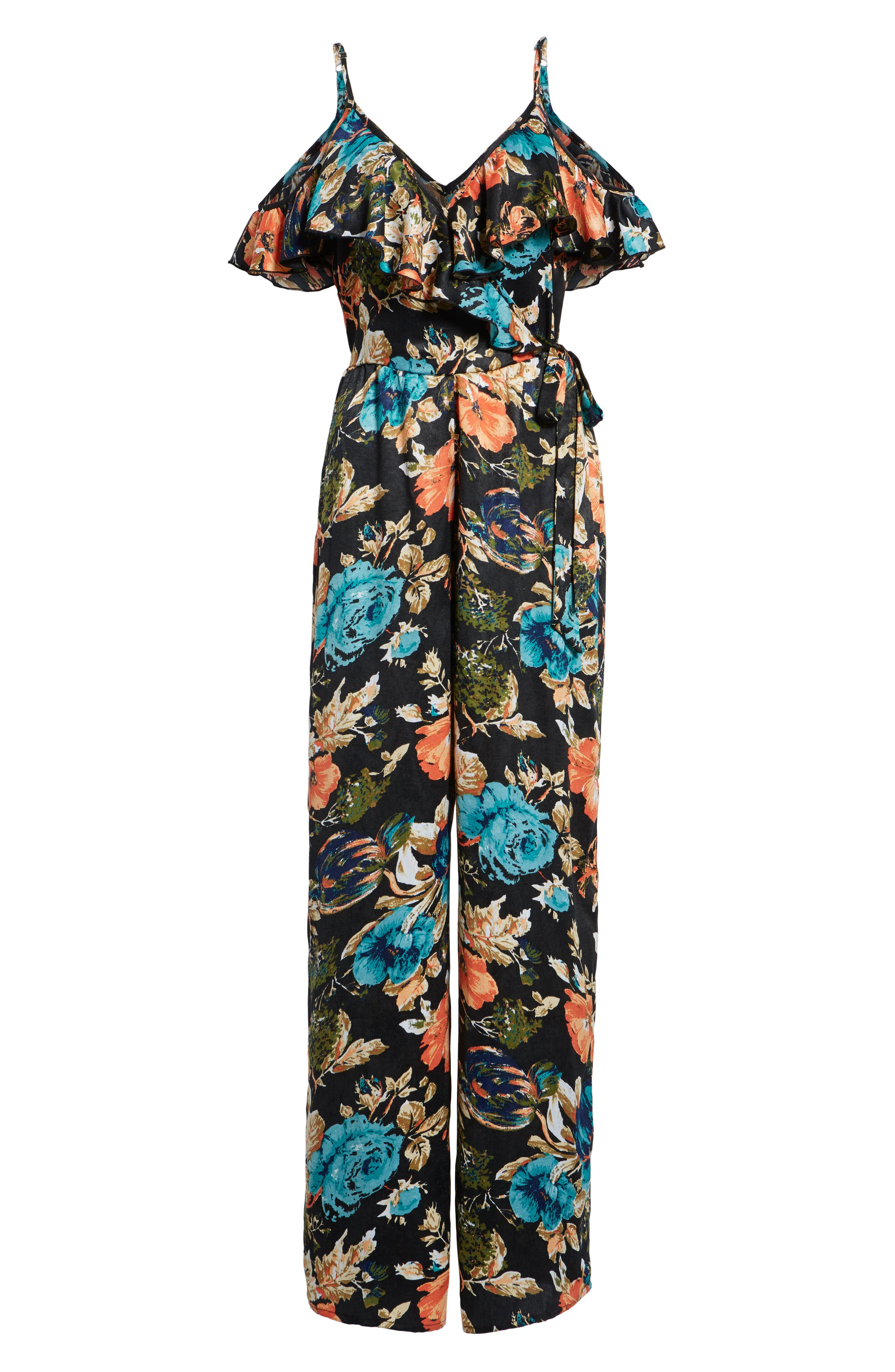 Peony Print Jumpsuit,                             Alternate thumbnail 6, color,                             Black/ Orange