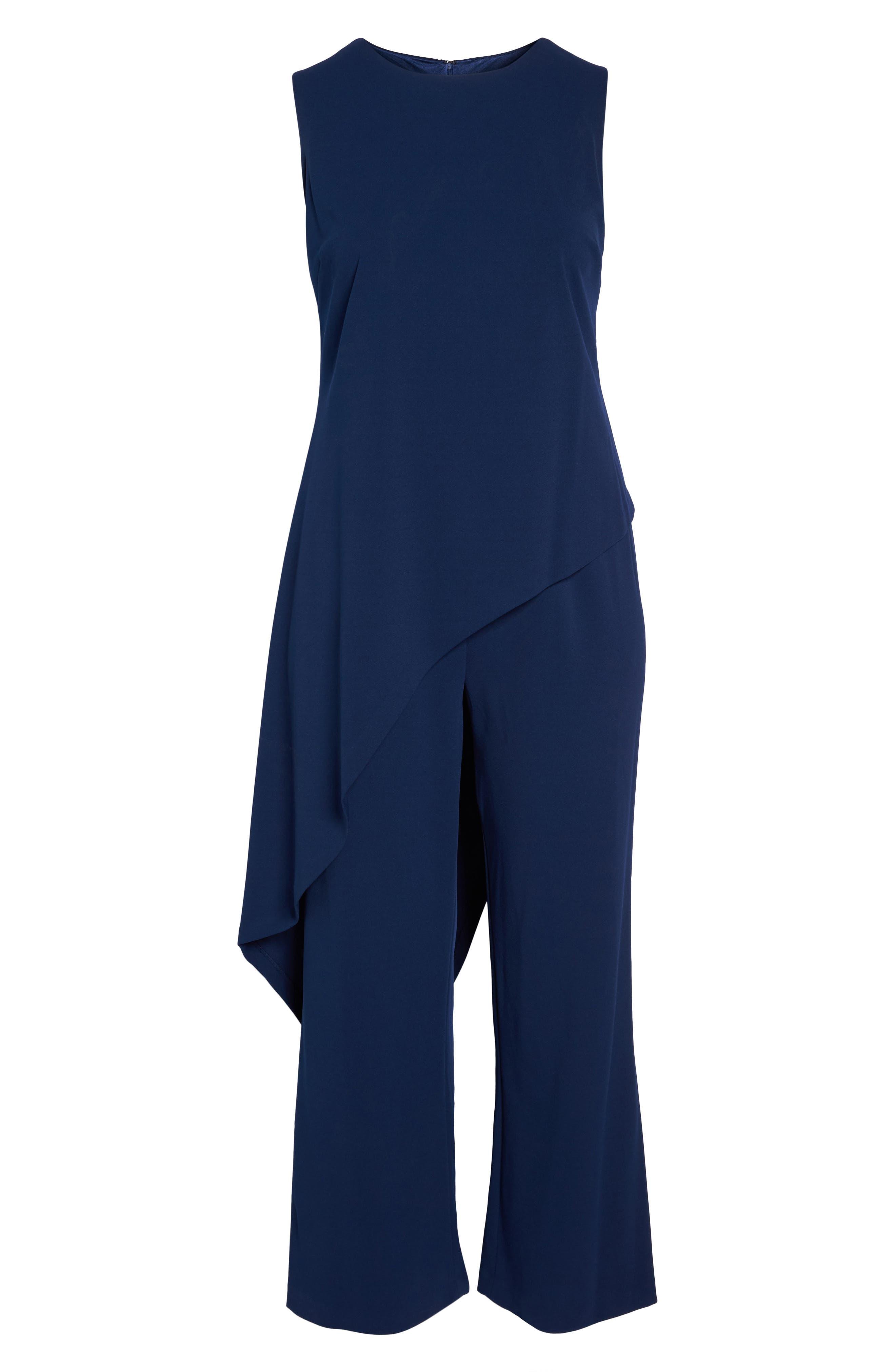 Knit Crepe Asymmetrical Jumpsuit,                             Alternate thumbnail 6, color,                             Blue Violet