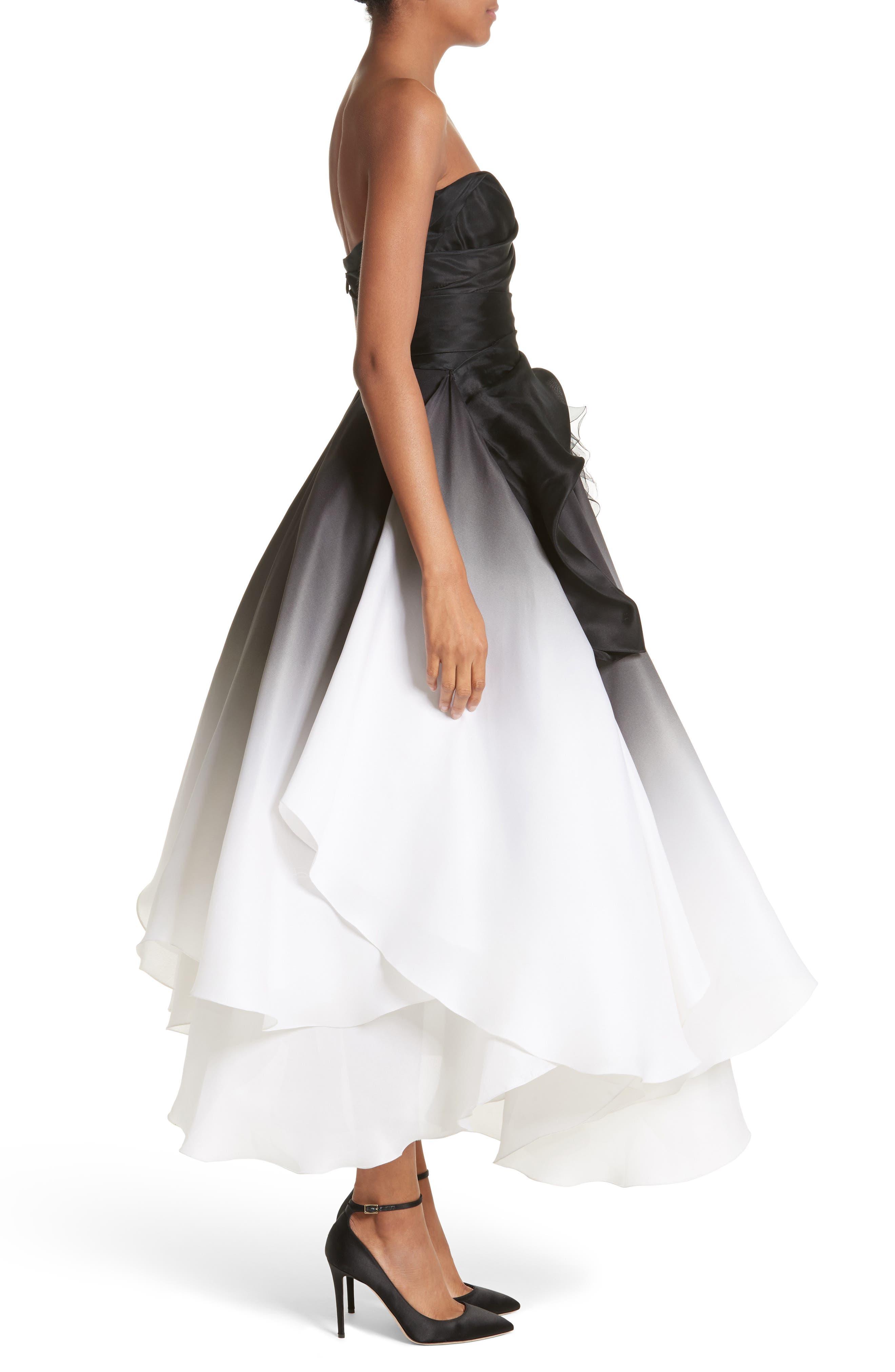 Ombré Strapless Tea Length Dress,                             Alternate thumbnail 4, color,                             Black/ White