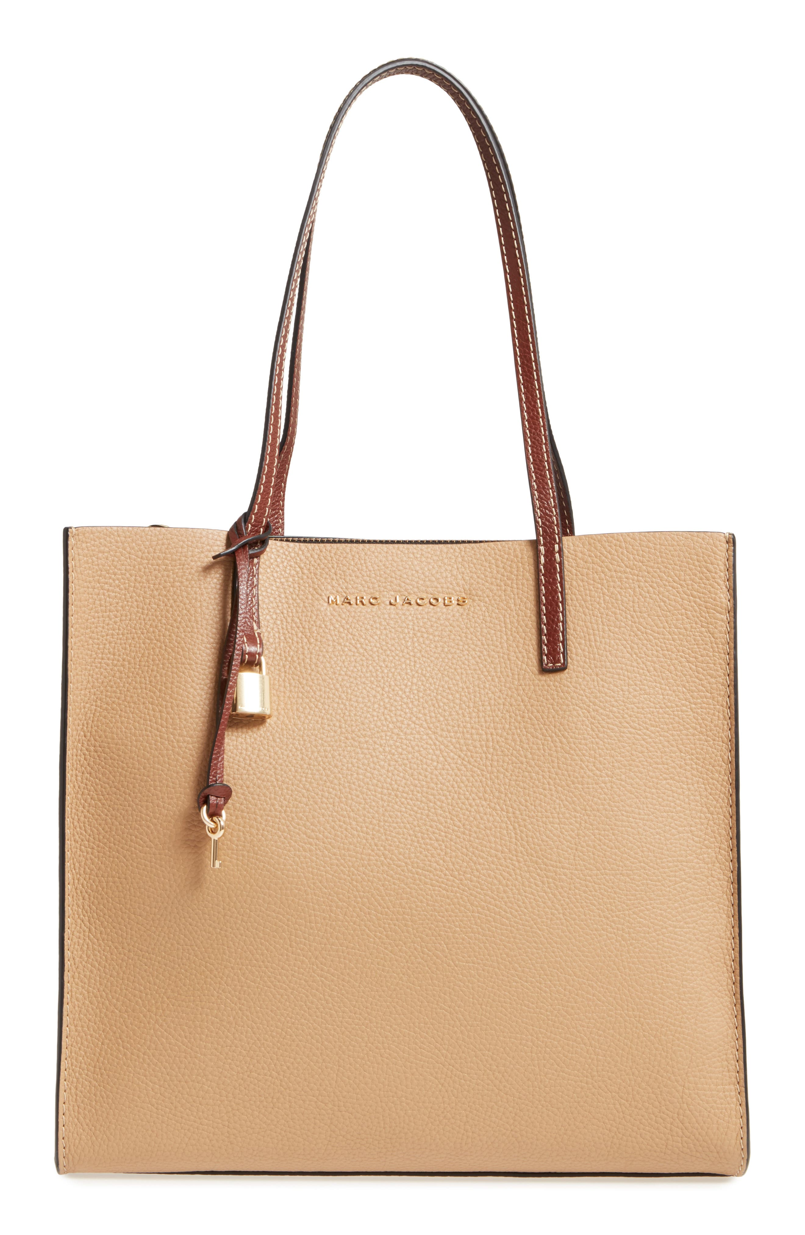 The Grind Colorblock Leather Tote,                             Main thumbnail 1, color,                             Natural Multi