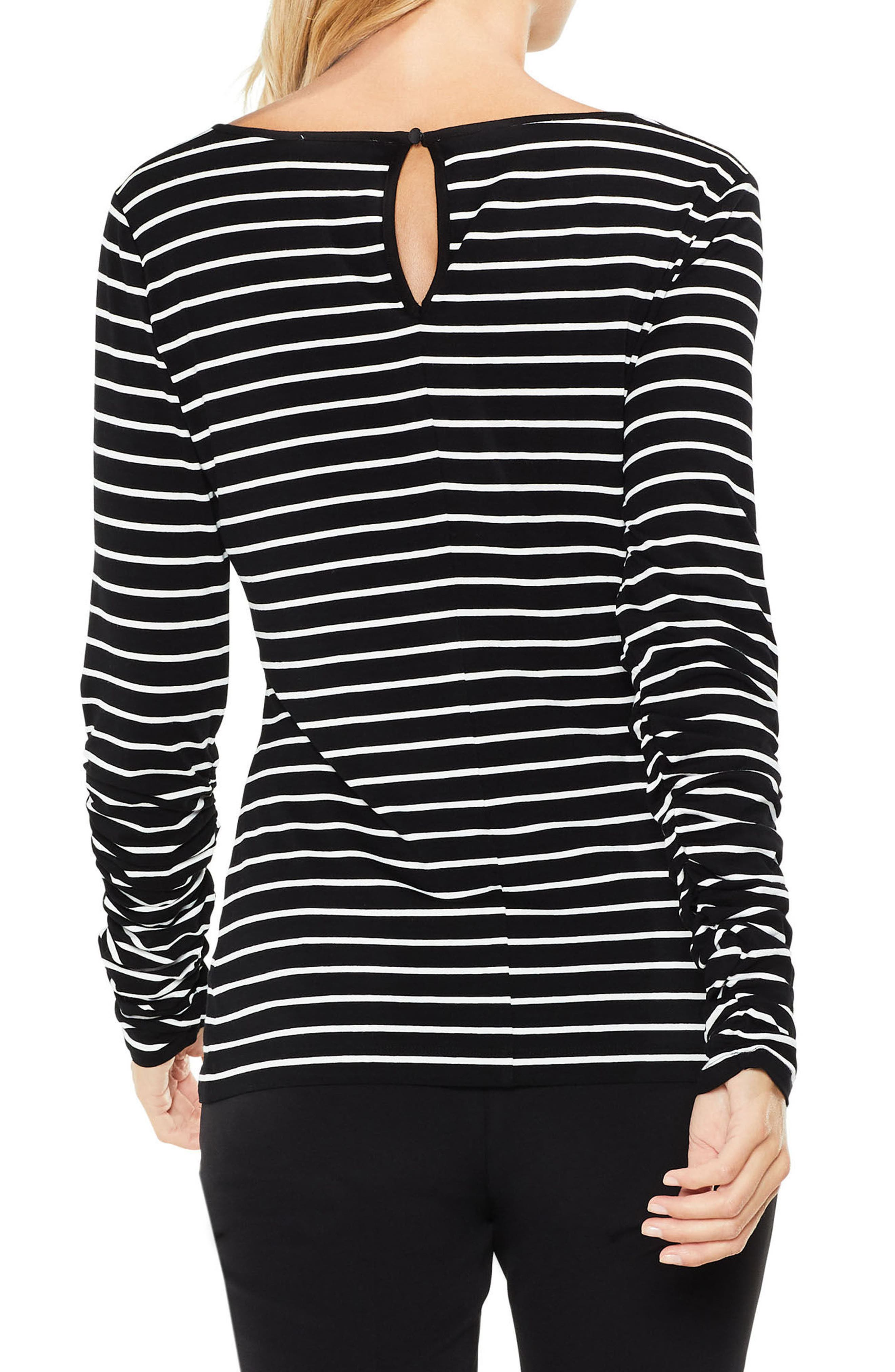 Alternate Image 2  - Vince Camuto Ruched Linear Stripe Top (Regular & Petite)