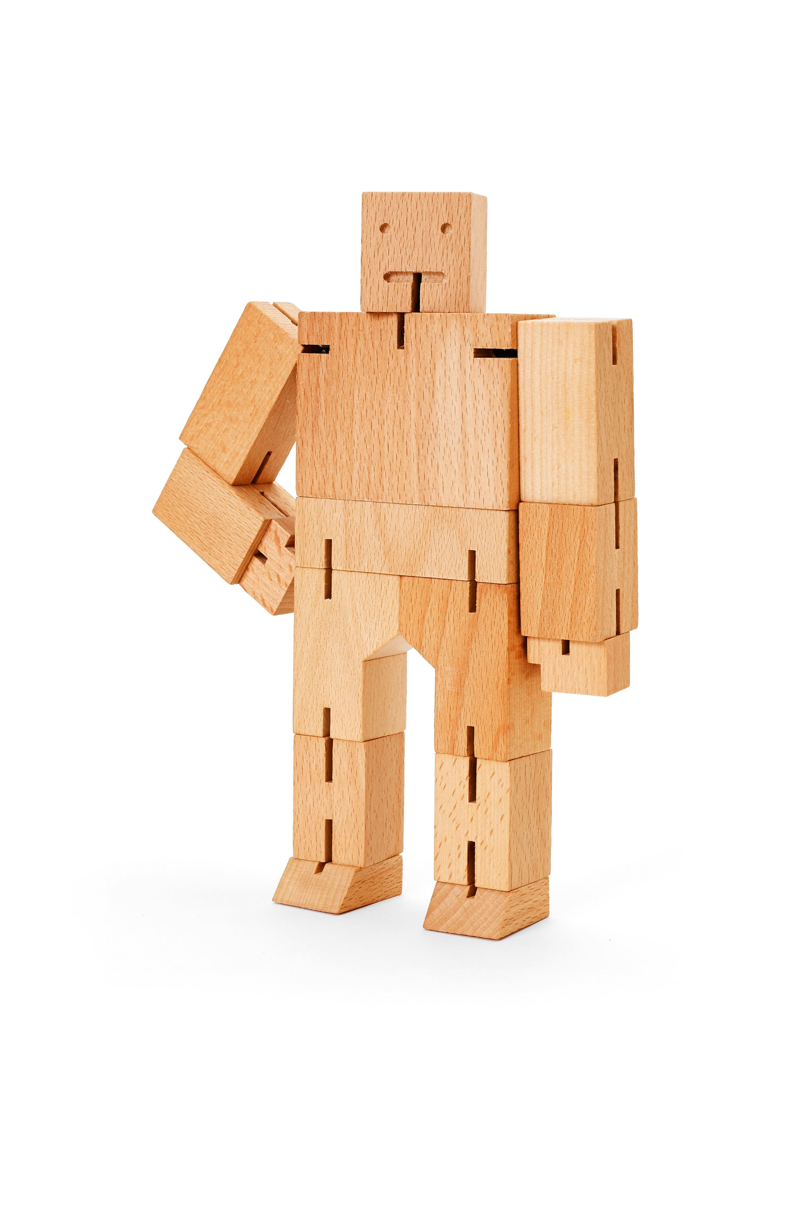 Areaware Cubebot Small Wooden Robot Toy
