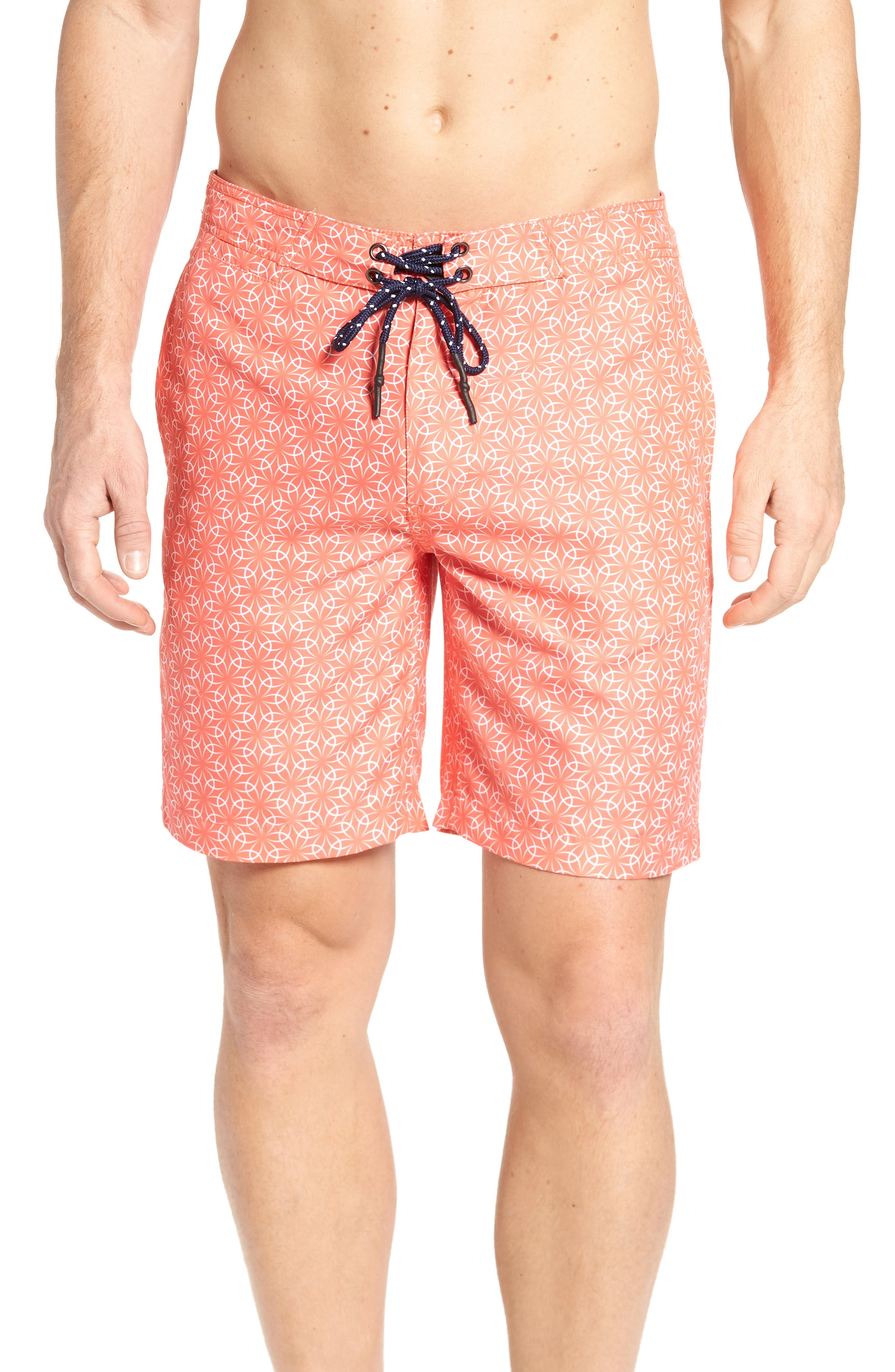 Gradient Flower Board Shorts,                         Main,                         color, Hot Coral