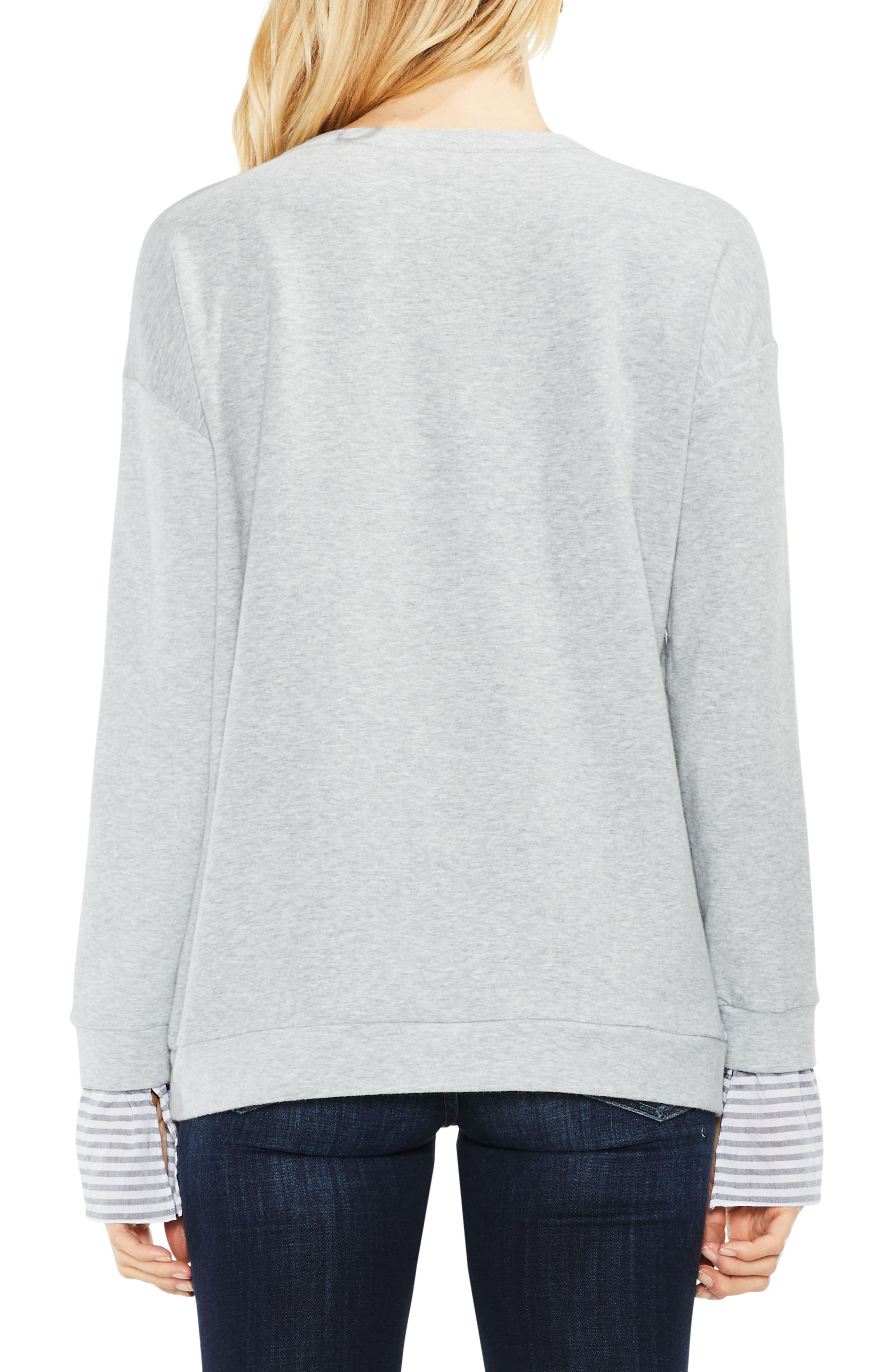 Stripe Cuff Frech Terry Pullover,                             Alternate thumbnail 2, color,                             Grey Heather