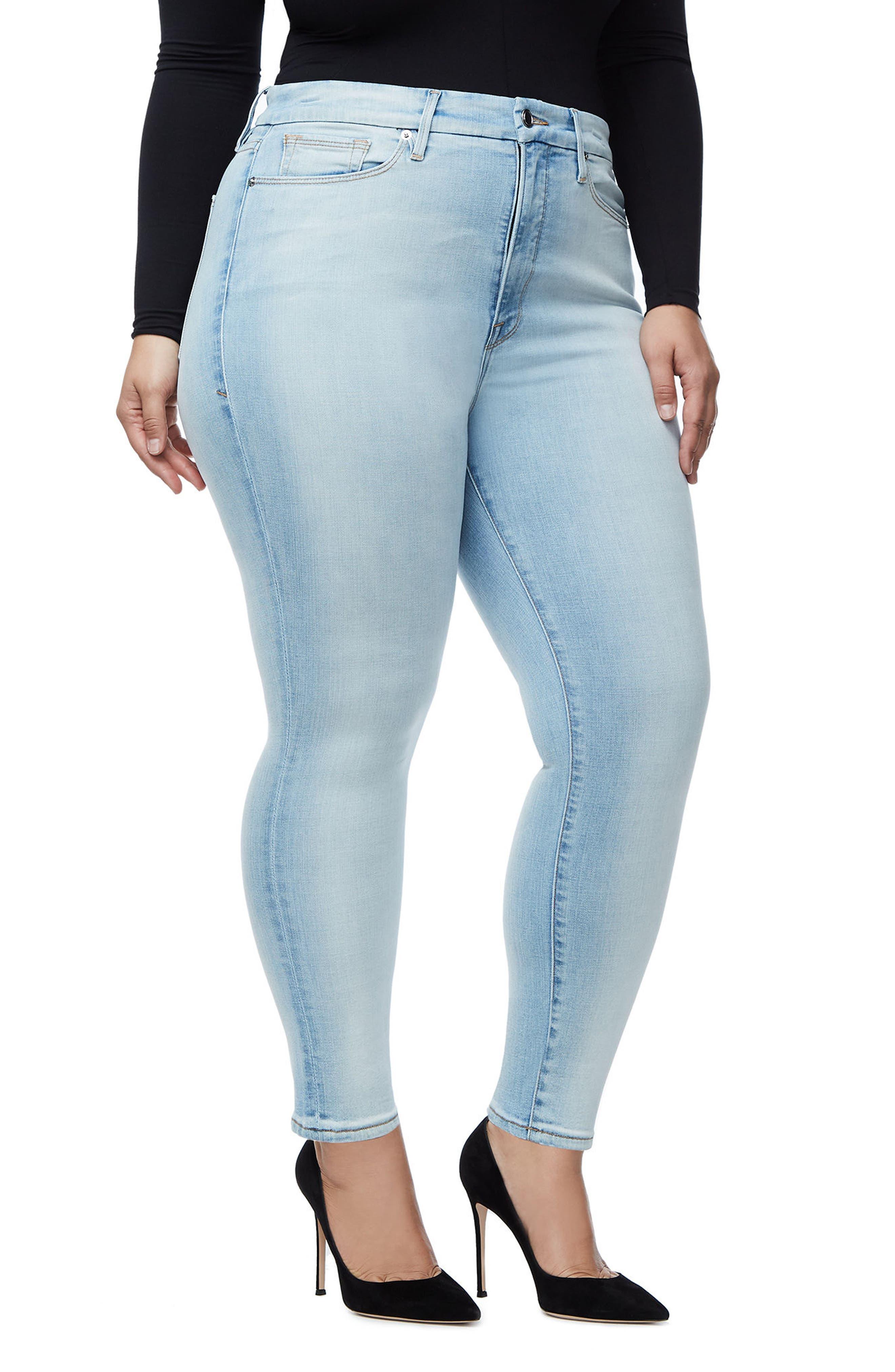 Alternate Image 6  - Good American Good Waist Skinny Jeans (Blue 116) (Regular & Plus Size)