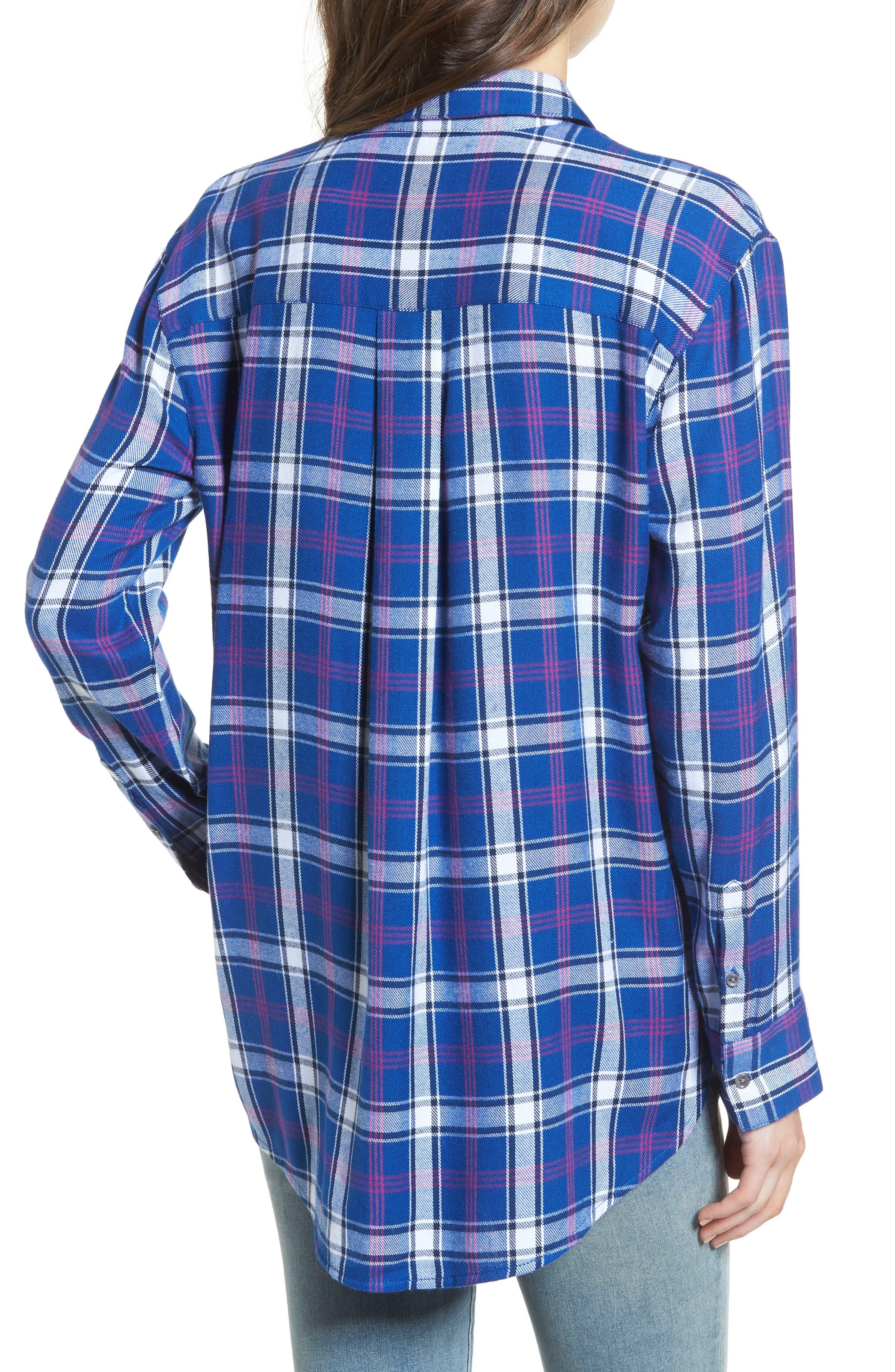 Tartan Boyfriend Shirt,                             Alternate thumbnail 2, color,                             Navy Limoges Weekend Tartan