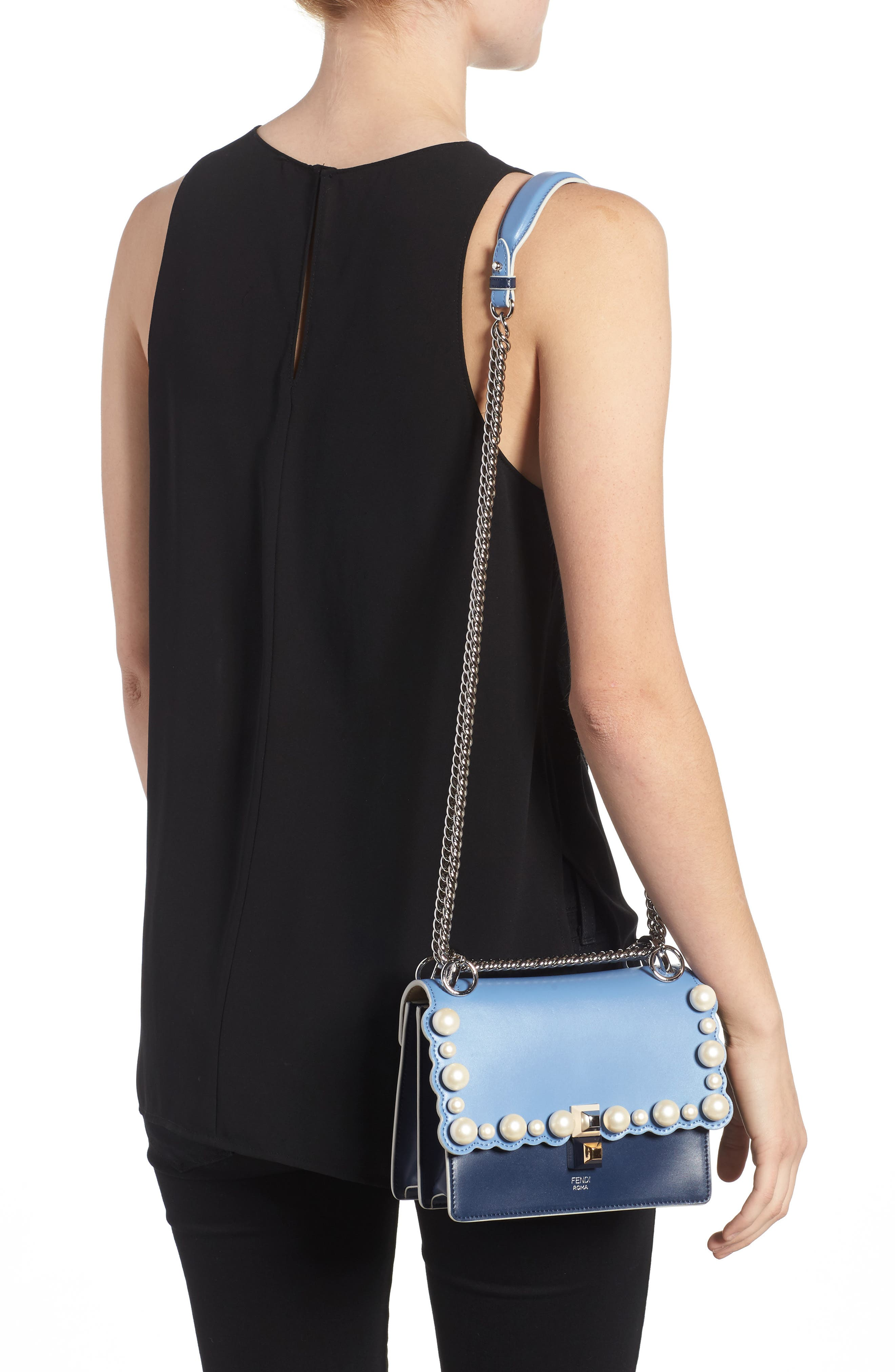 Mini Kan I Imitation Pearl Scallop Leather Shoulder Bag,                             Alternate thumbnail 2, color,                             Blue