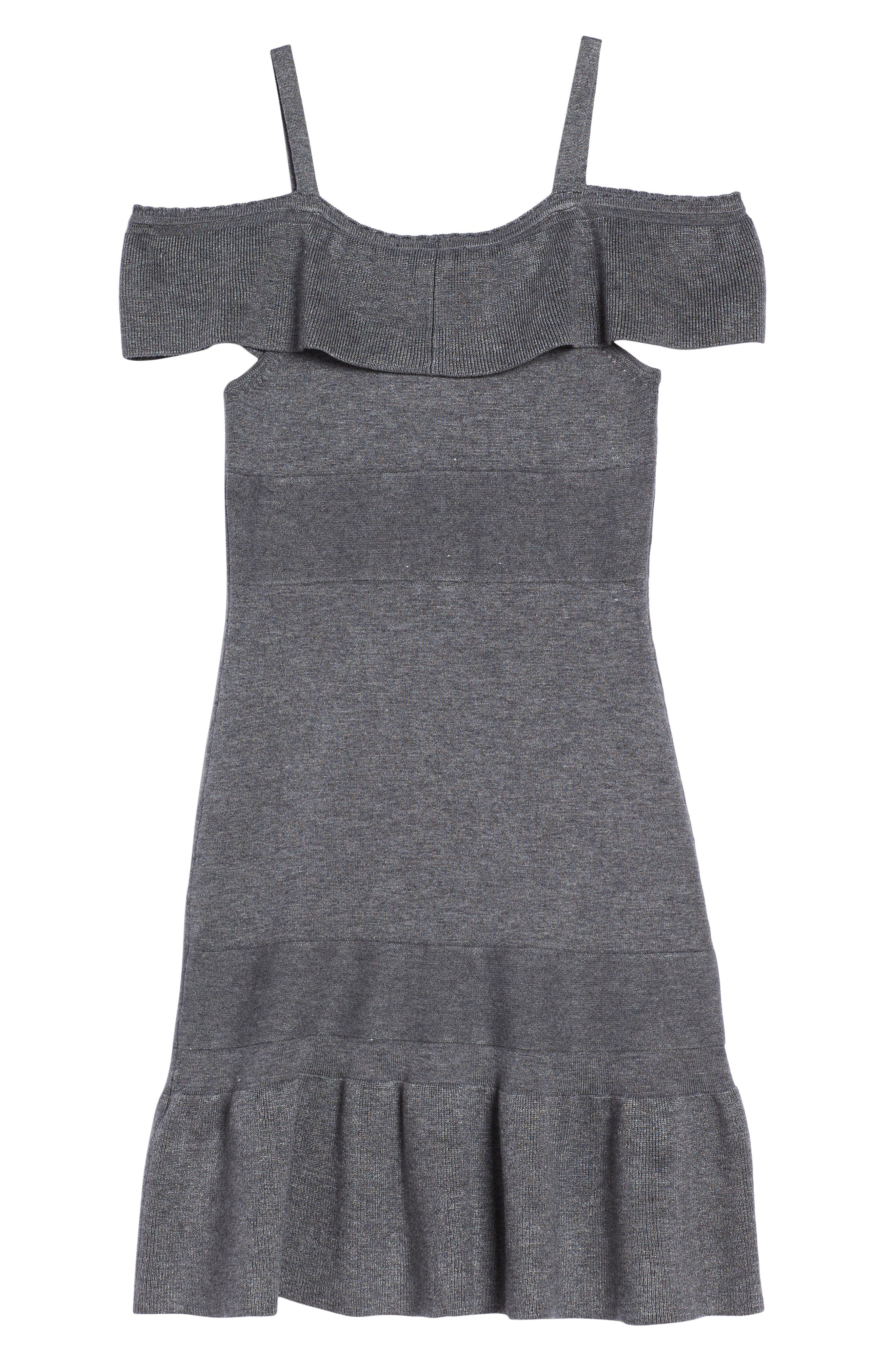 Alternate Image 2  - bebe Ruffle Cold Shoulder Dress (Big Girls)