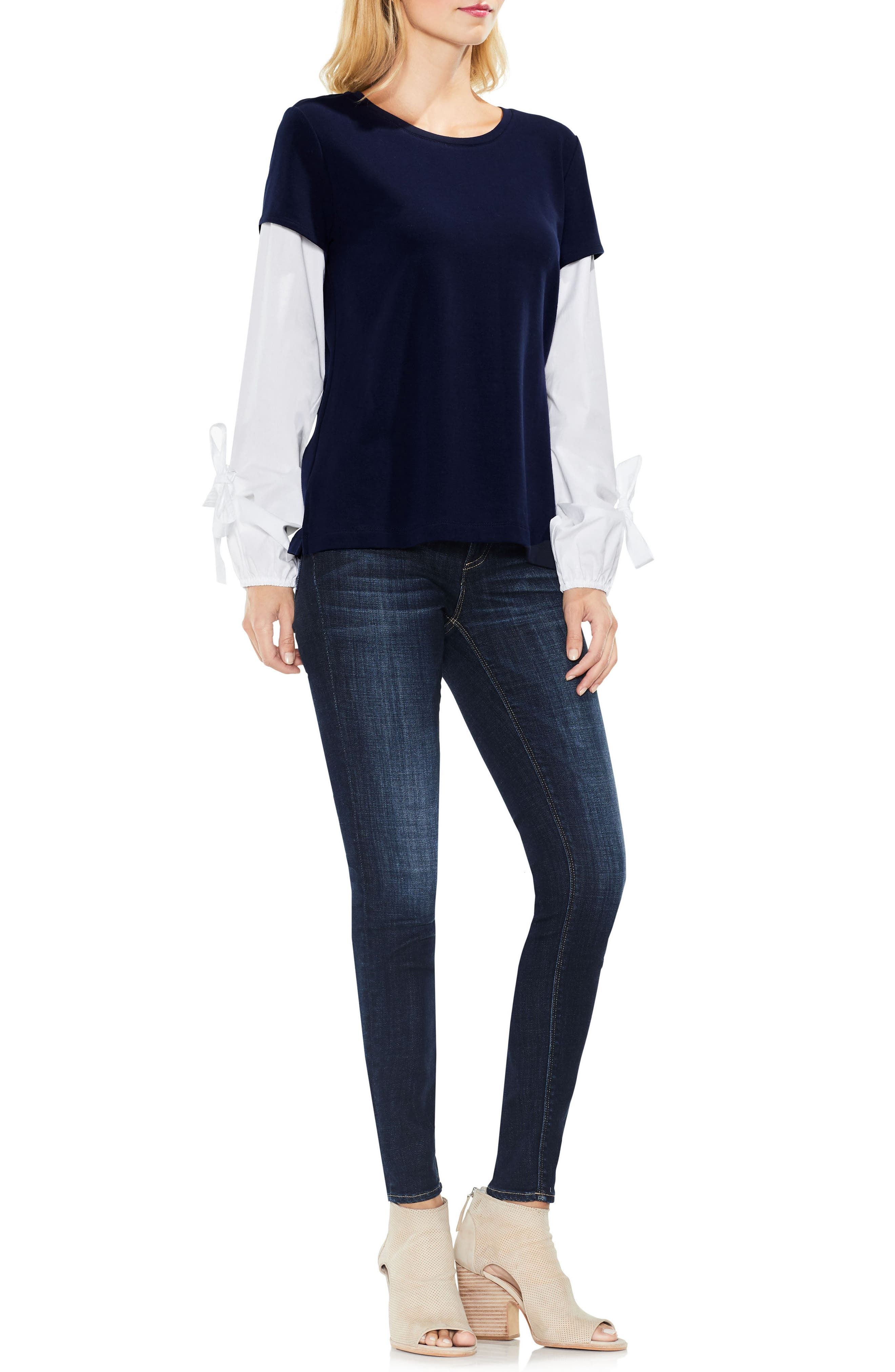 Alternate Image 3  - Two by Vince Camuto Bubble Sleeve Mix Media Top (Regular & Petite)