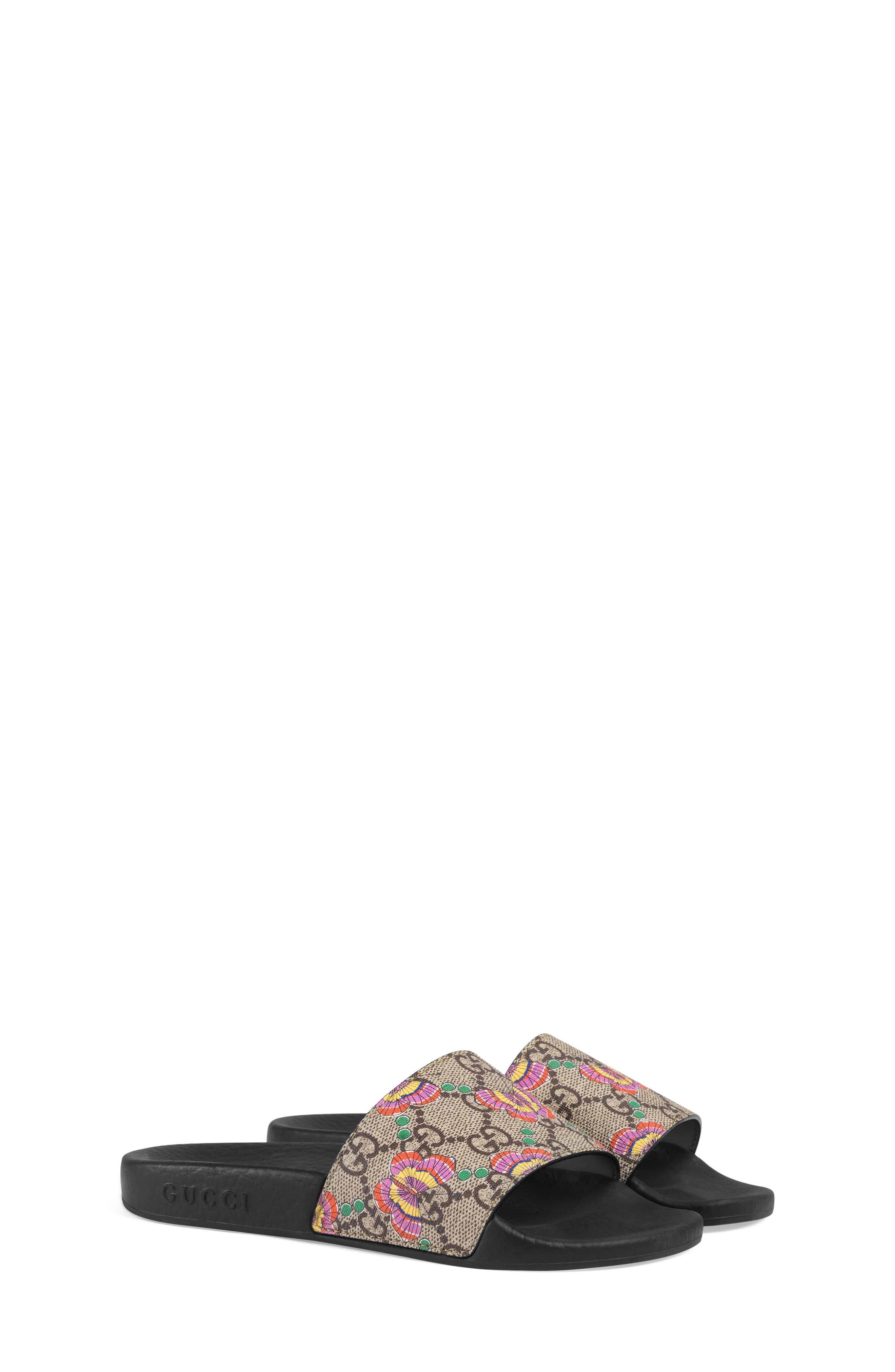 GG Supreme Butterfly Slide Sandal,                             Main thumbnail 1, color,                             Beige/ Pink Multi