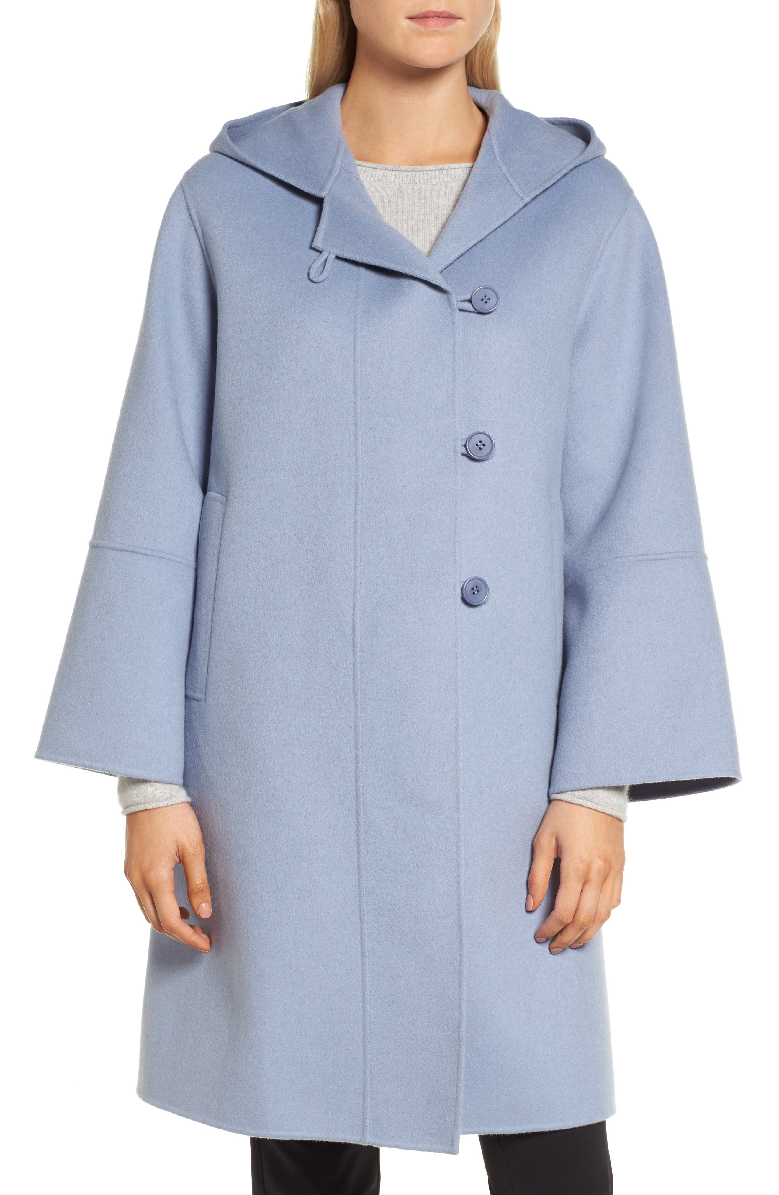 Hooded Wool & Cashmere Coat,                             Alternate thumbnail 4, color,                             Blue Tempest
