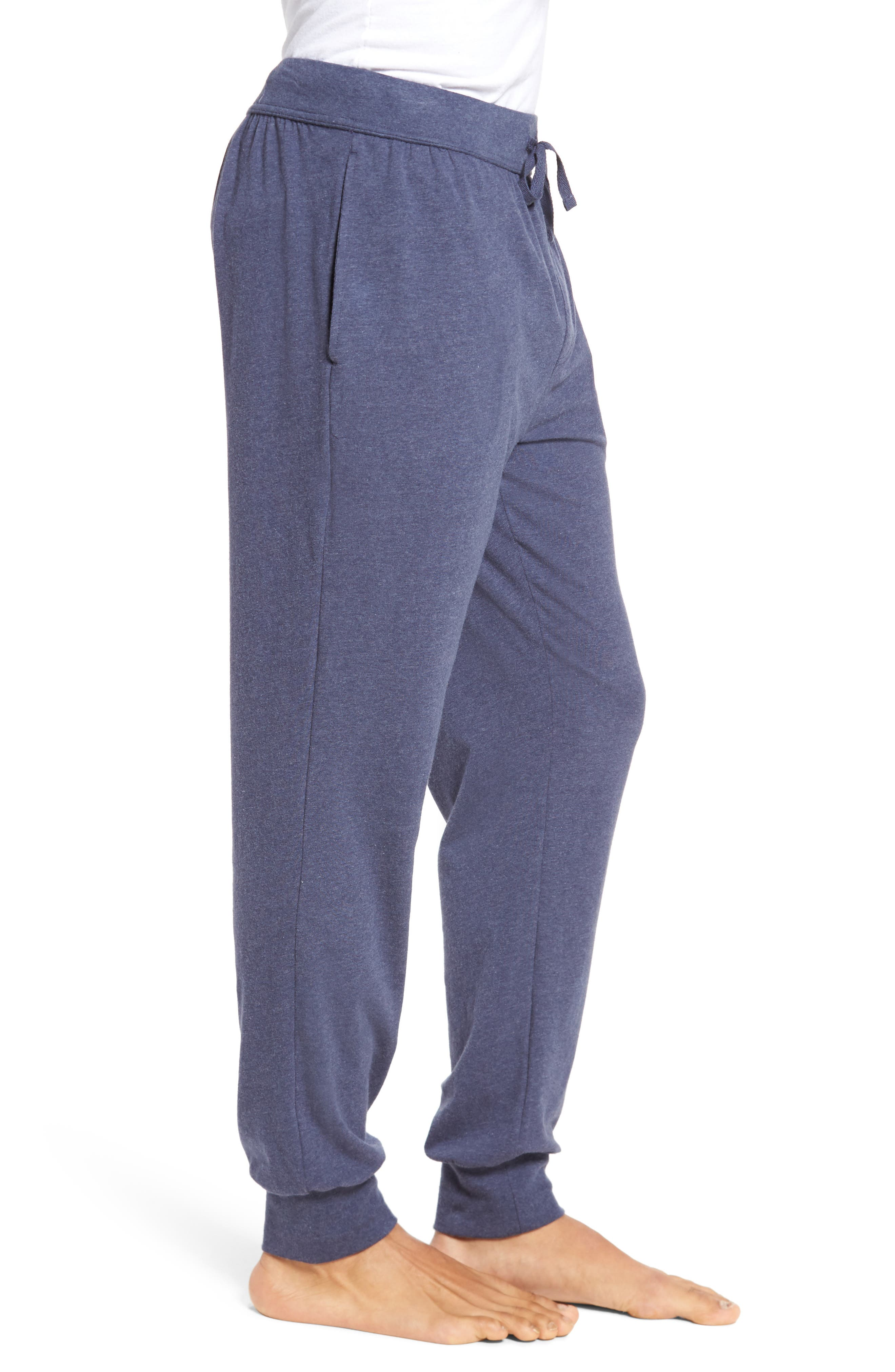 Stretch Cotton Lounge Pants,                             Alternate thumbnail 3, color,                             Blue Denim
